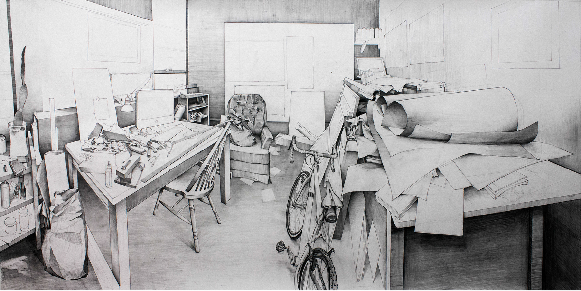 "Sean Hurley - MY STUDIO - 44"" x 90"" - Graphite"