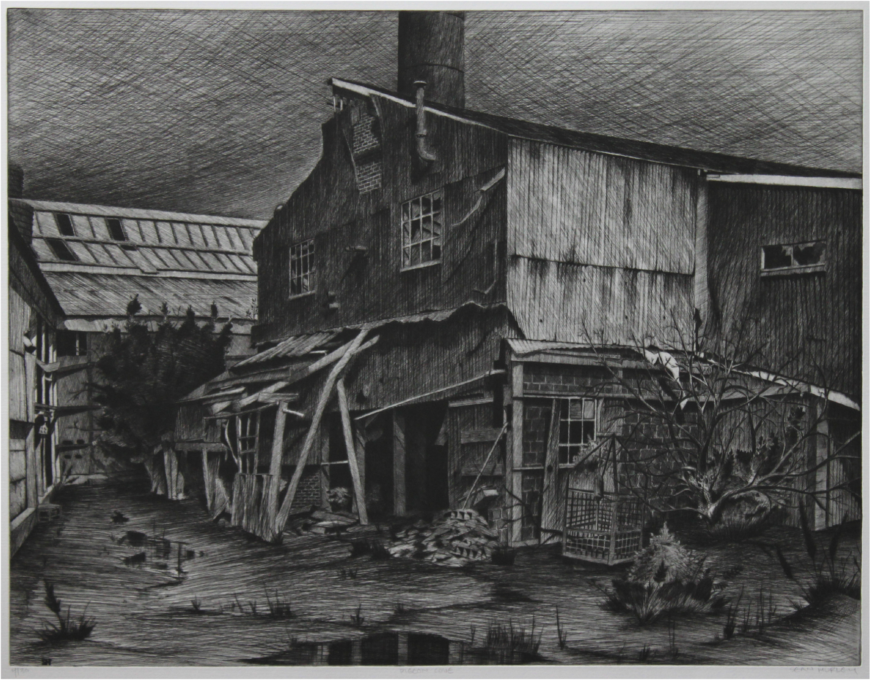 """Sean Hurley - PIGEON COVE - 19.5 """" x25.5 """" - Etching with spitbite"""