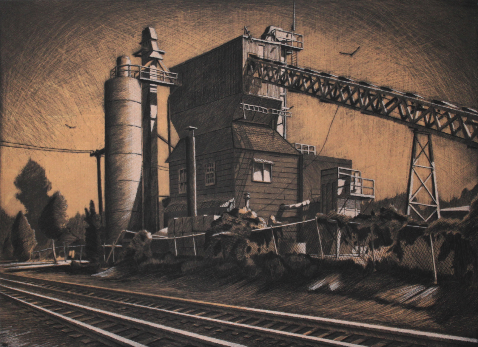 """Sean Hurley - CEMENT FACTORY - 14 """" x19 """" - 3 Plate Etching with Aquatint"""