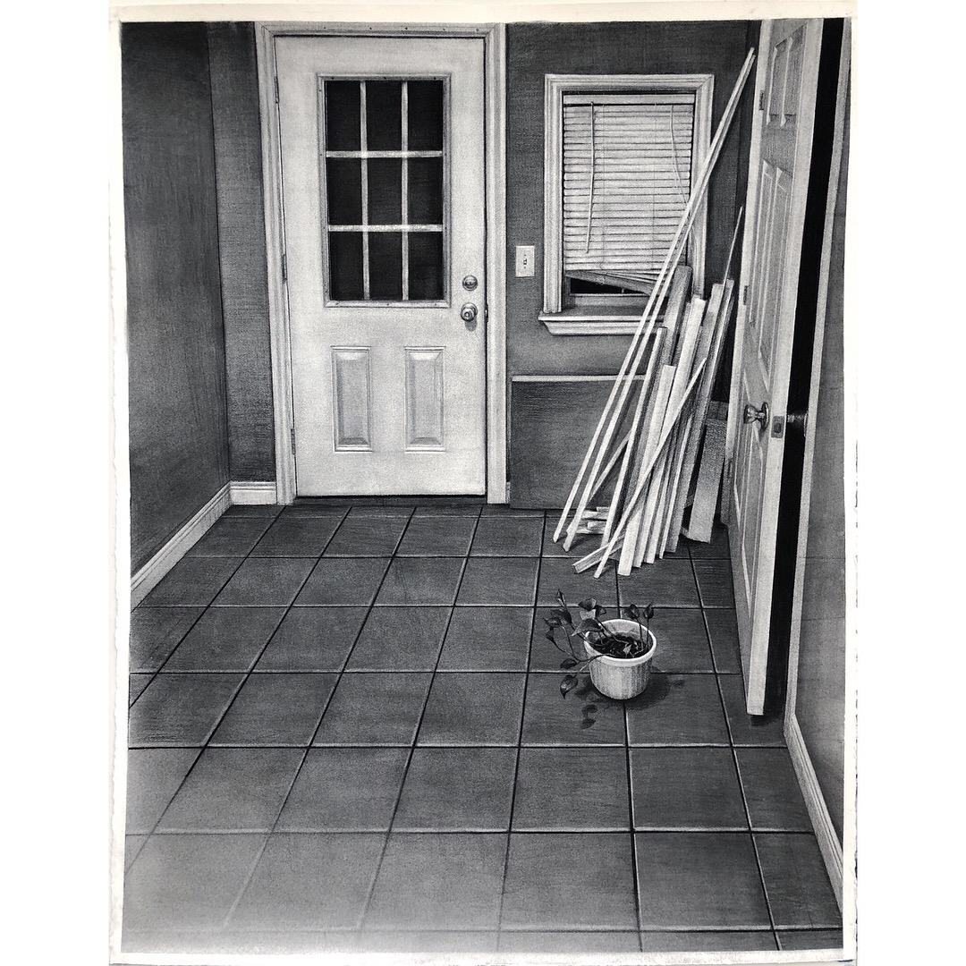 "Sean Hurley - ENTRANCE - 52"" x 40"" - Charcoal"
