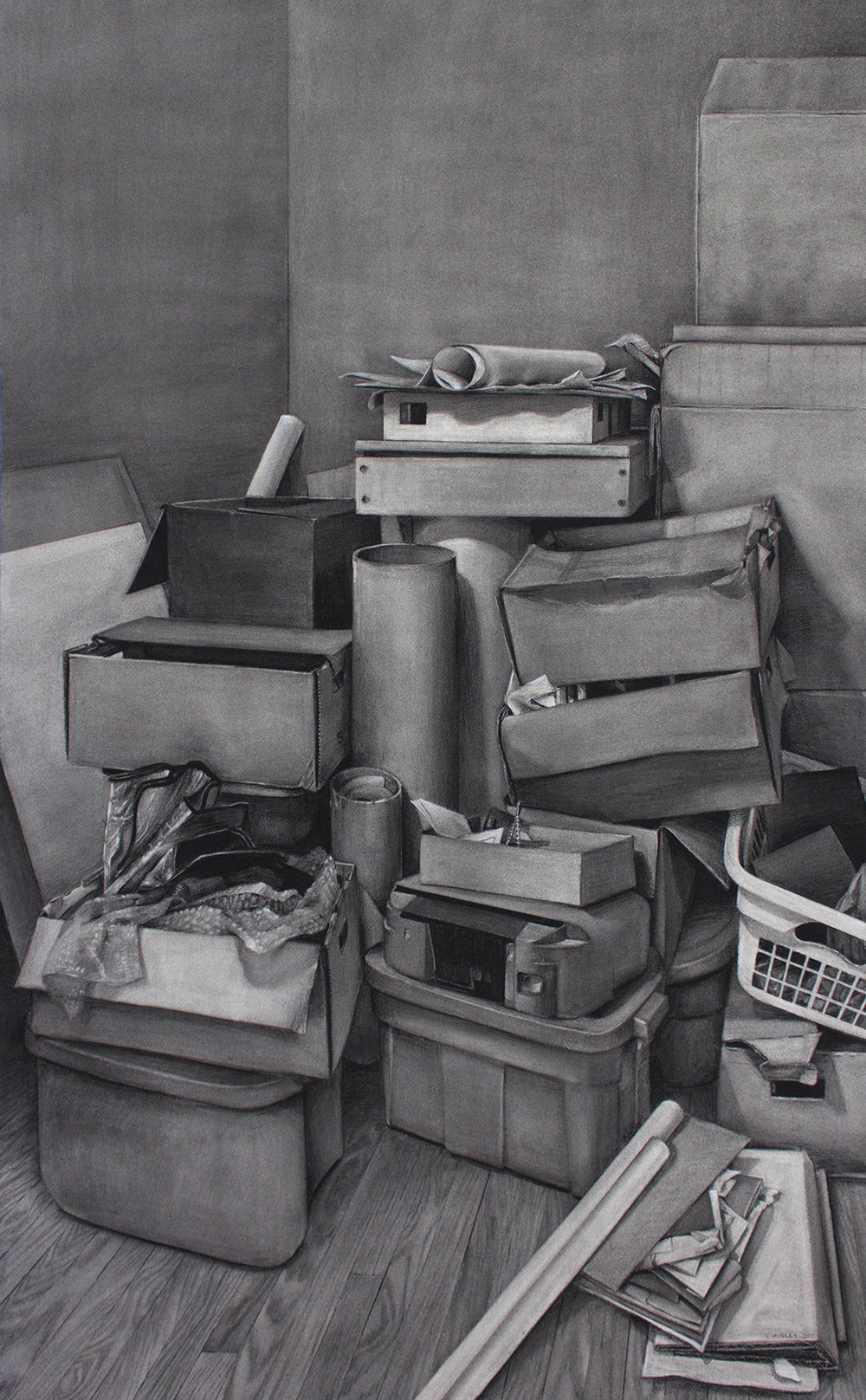 """Sean Hurley - RELOCATION - 67"""" X 41.5"""" - Charcoal"""