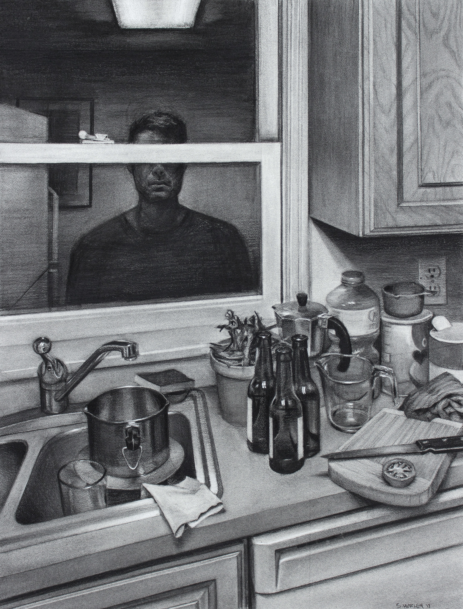 """Sean Hurley - COMPROMISES - 40"""" x 30.5"""" - Charcoal"""