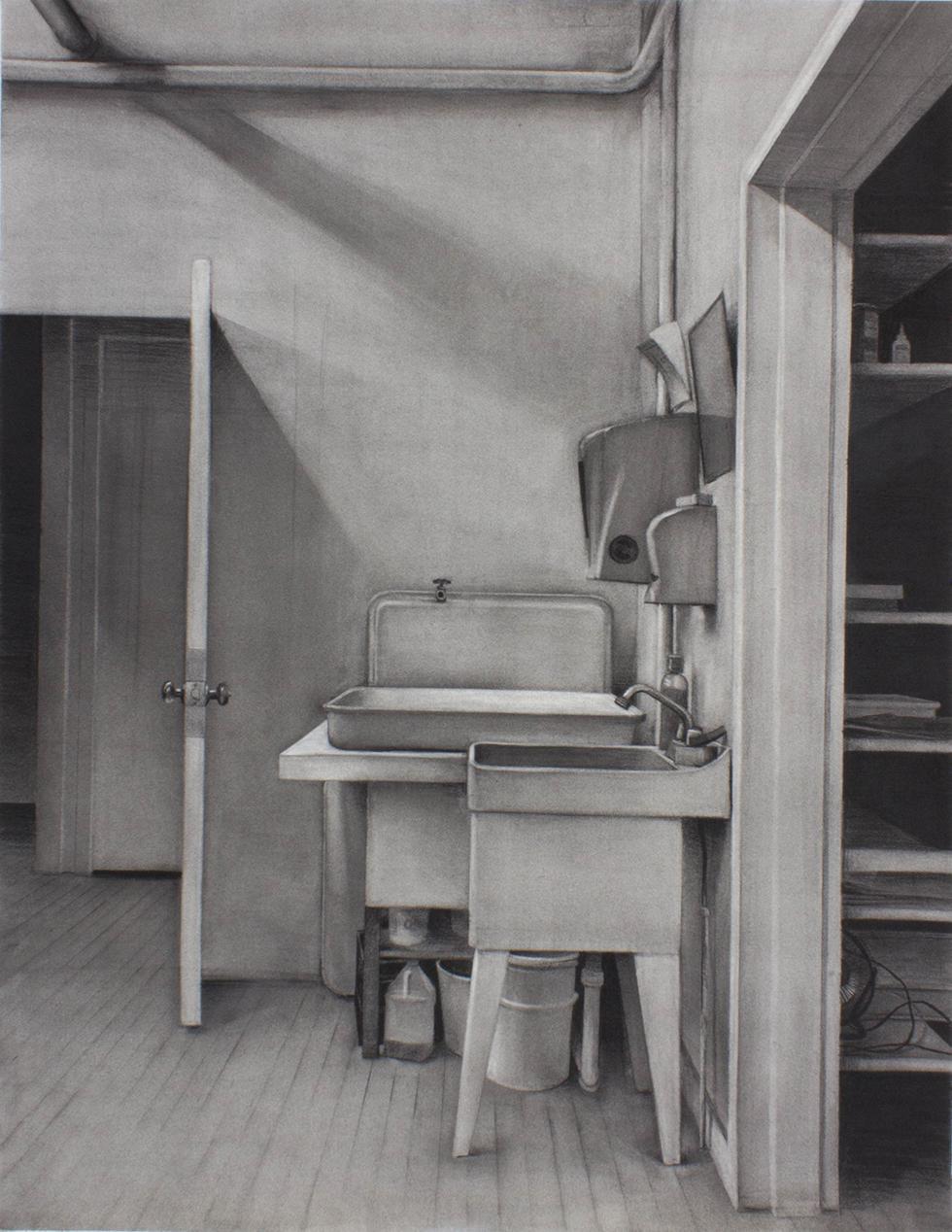 "Sean Hurley - STUDIO SINK, JOHNSON, VT - 48"" x 36"" - Charcoal"