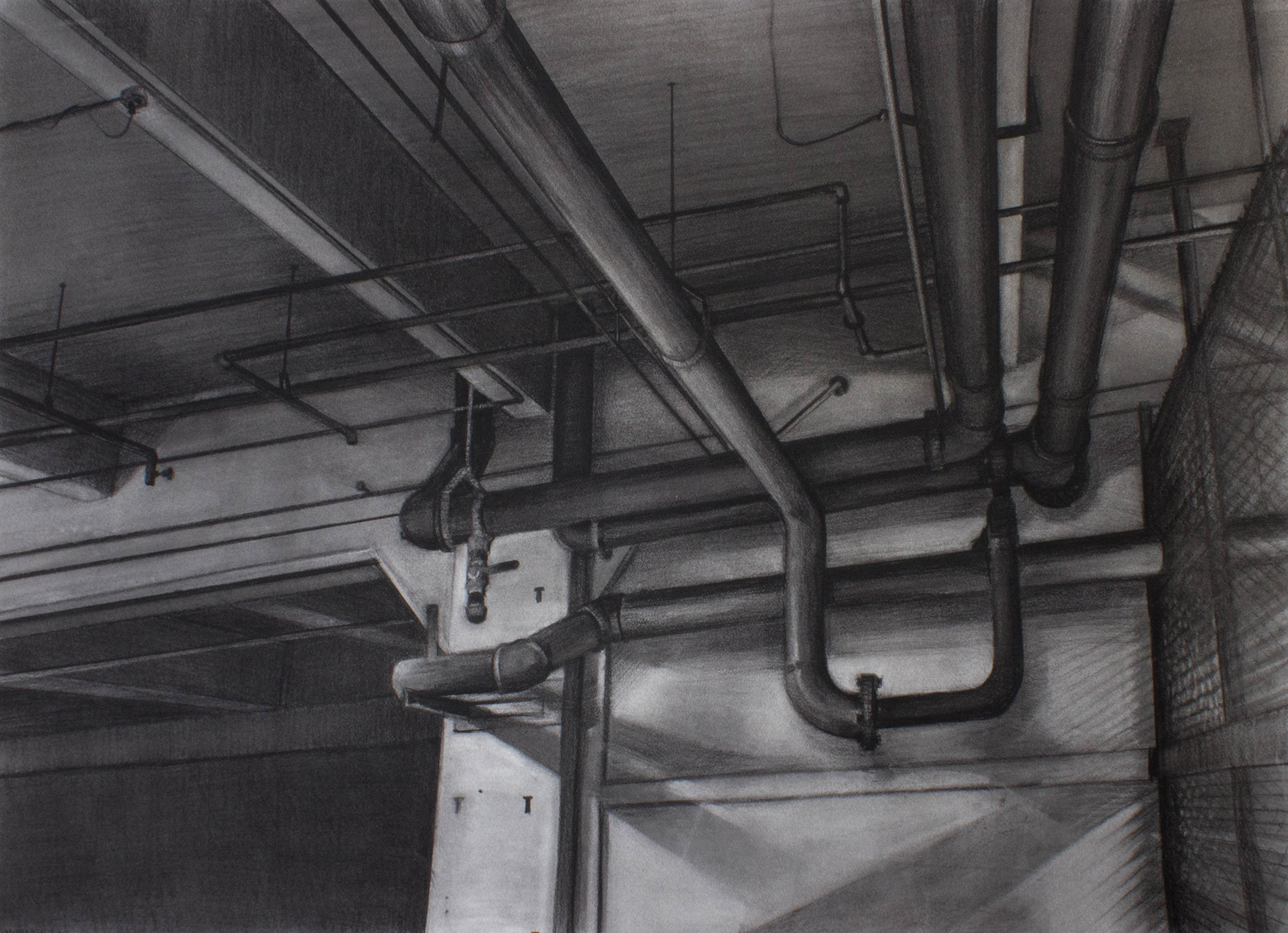 """Sean Hurley - PIPES - 30"""" x 42"""" - Charcoal"""