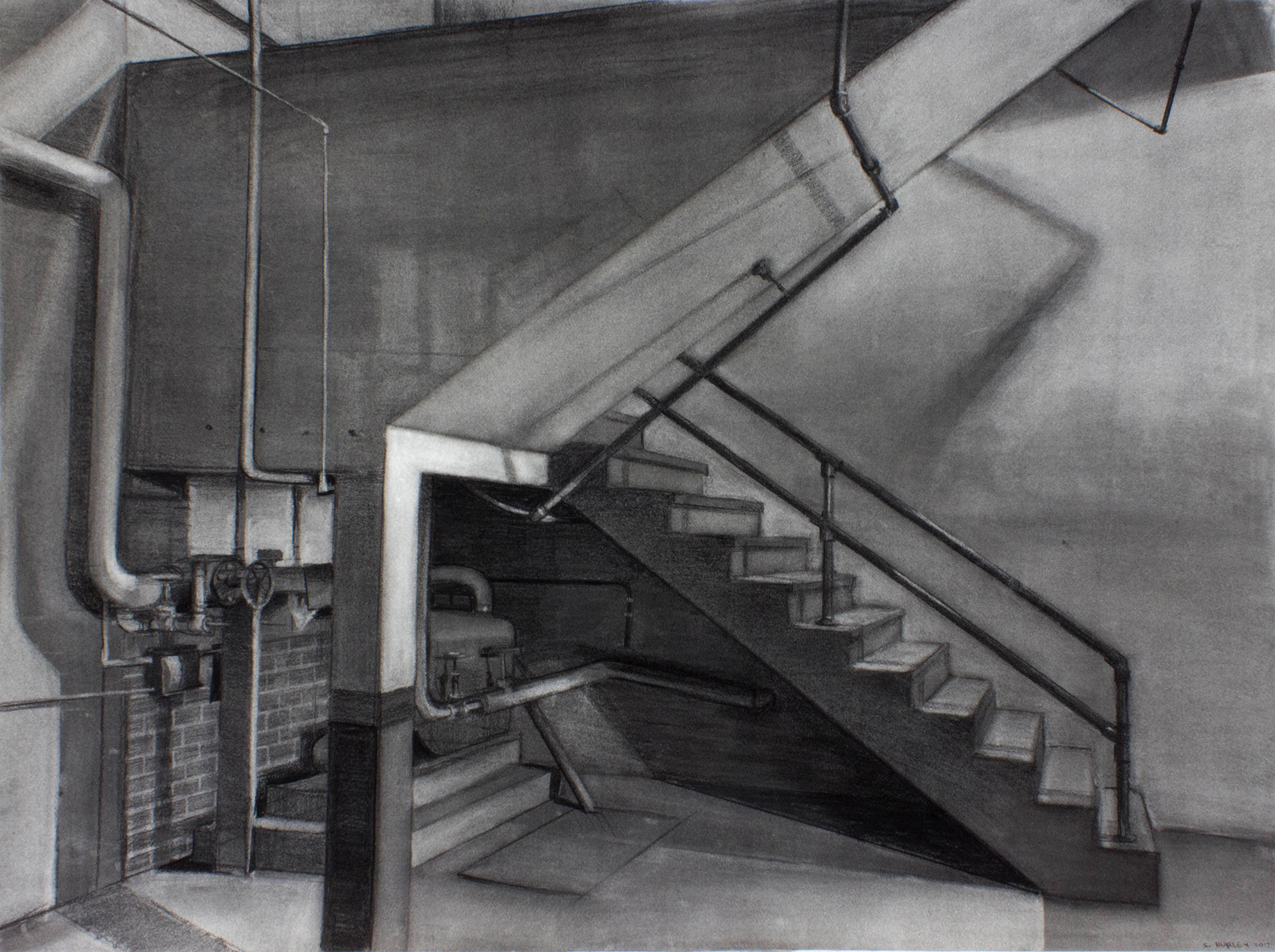 """Sean Hurley - STAIRWELL - 30"""" x 40"""" - Charcoal"""