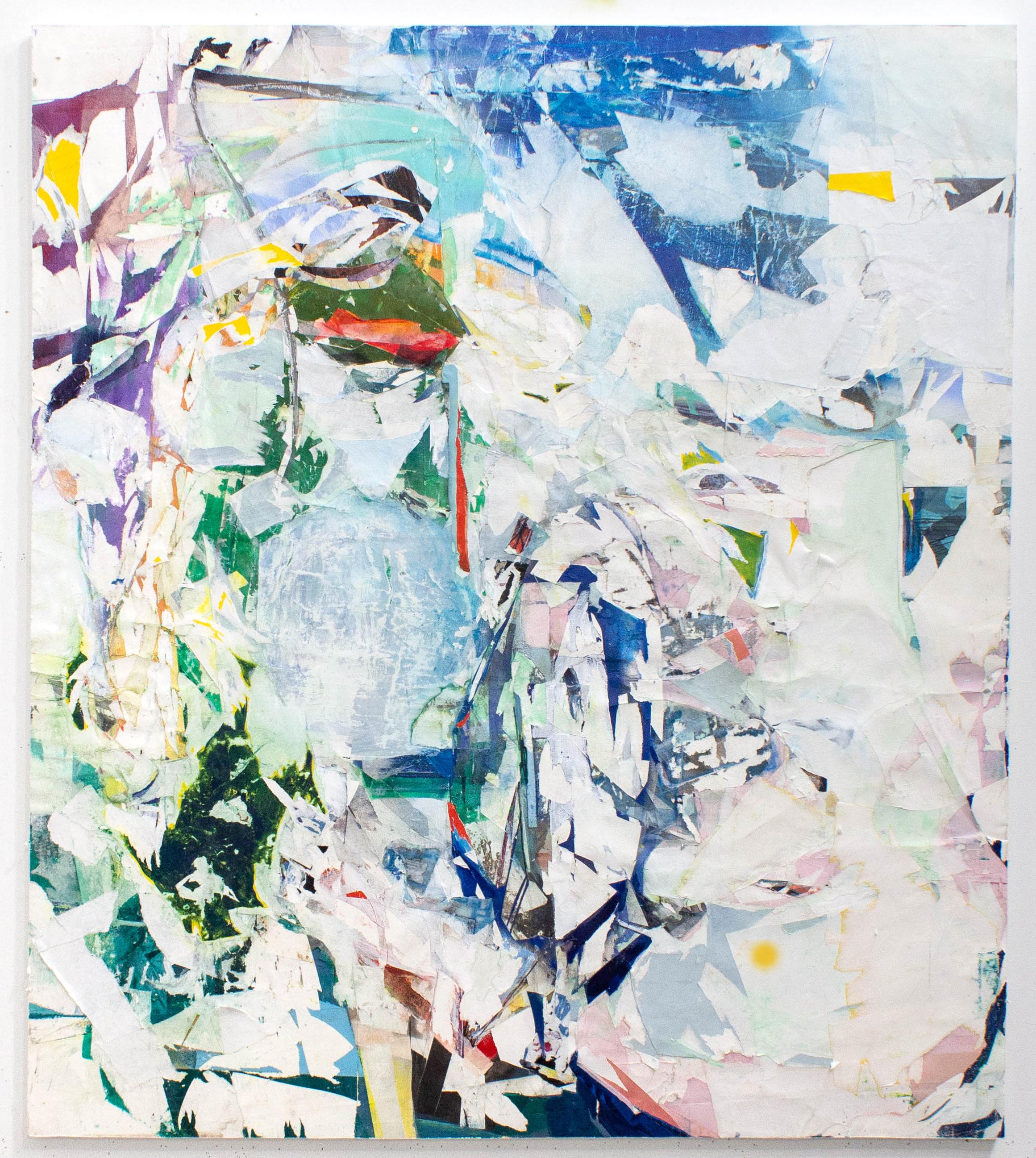 "Notice. Novice. 46""x41.5"", Acrylic, Spray Paint, Collage, Décollage, Pastel, 2018"