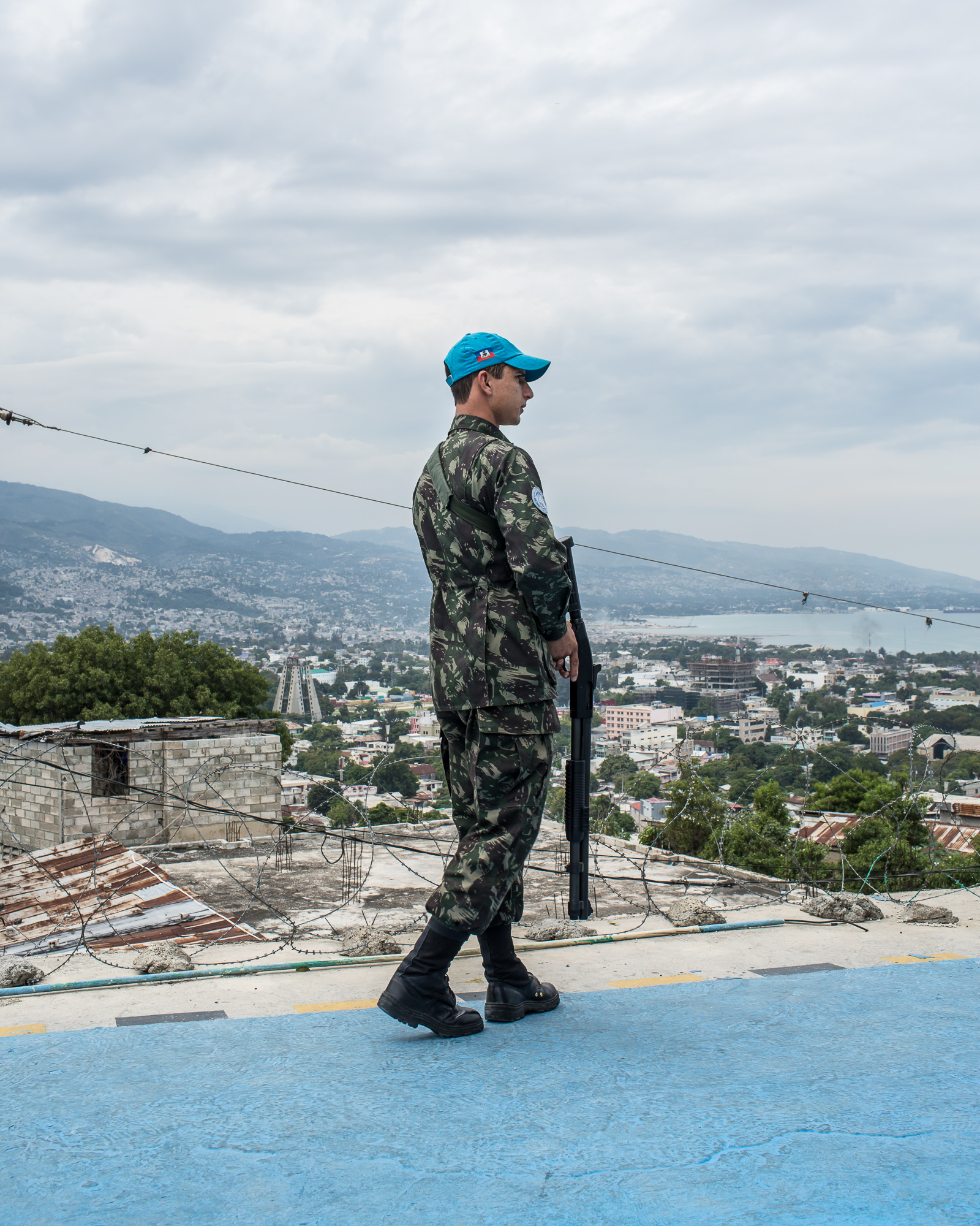 A UN peacekeeping soldier from Brazil, operating under the auspices of MINUSTAH, at his base in Fort National on Tuesday, December 16, 2014 in Port-au-Prince, Haiti. The UN has a controversial record in Haiti, and is extremely unpopular.