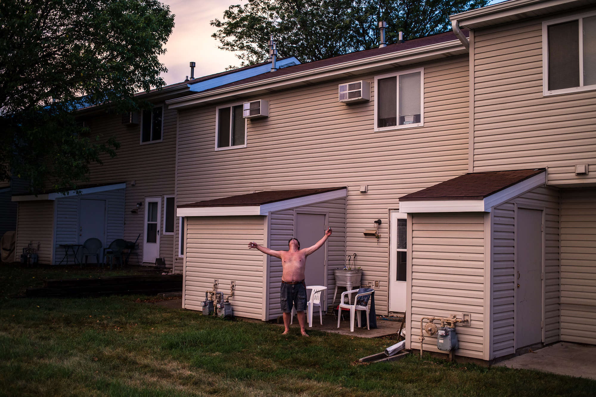 Tony Rexroat enjoys the evening air on Monday, July 22, 2013 in Webster City, IA.