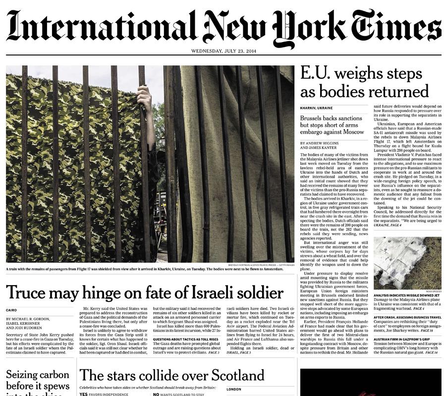 International New York Times, 23 July 2014