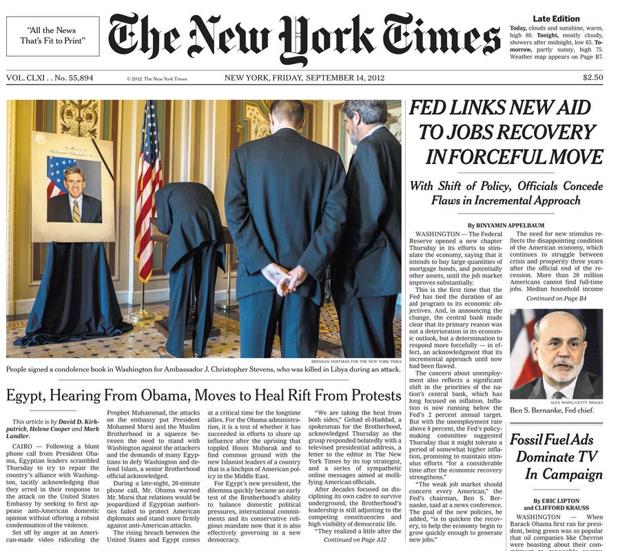 The New York Times, 14 September 2012