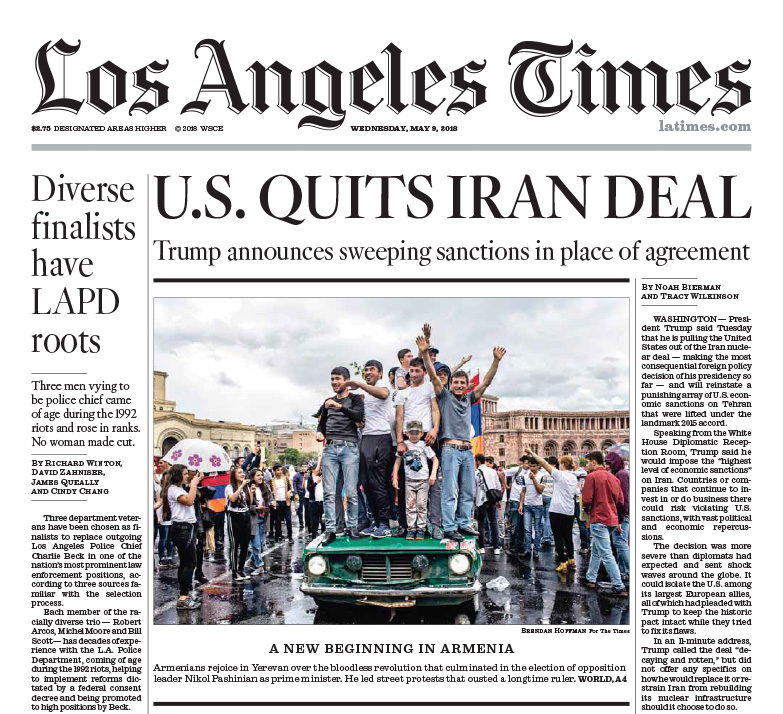 Los Angeles Times, 9 May 2018