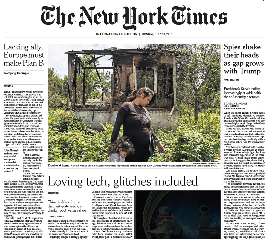 International New York Times, 23 July 2018
