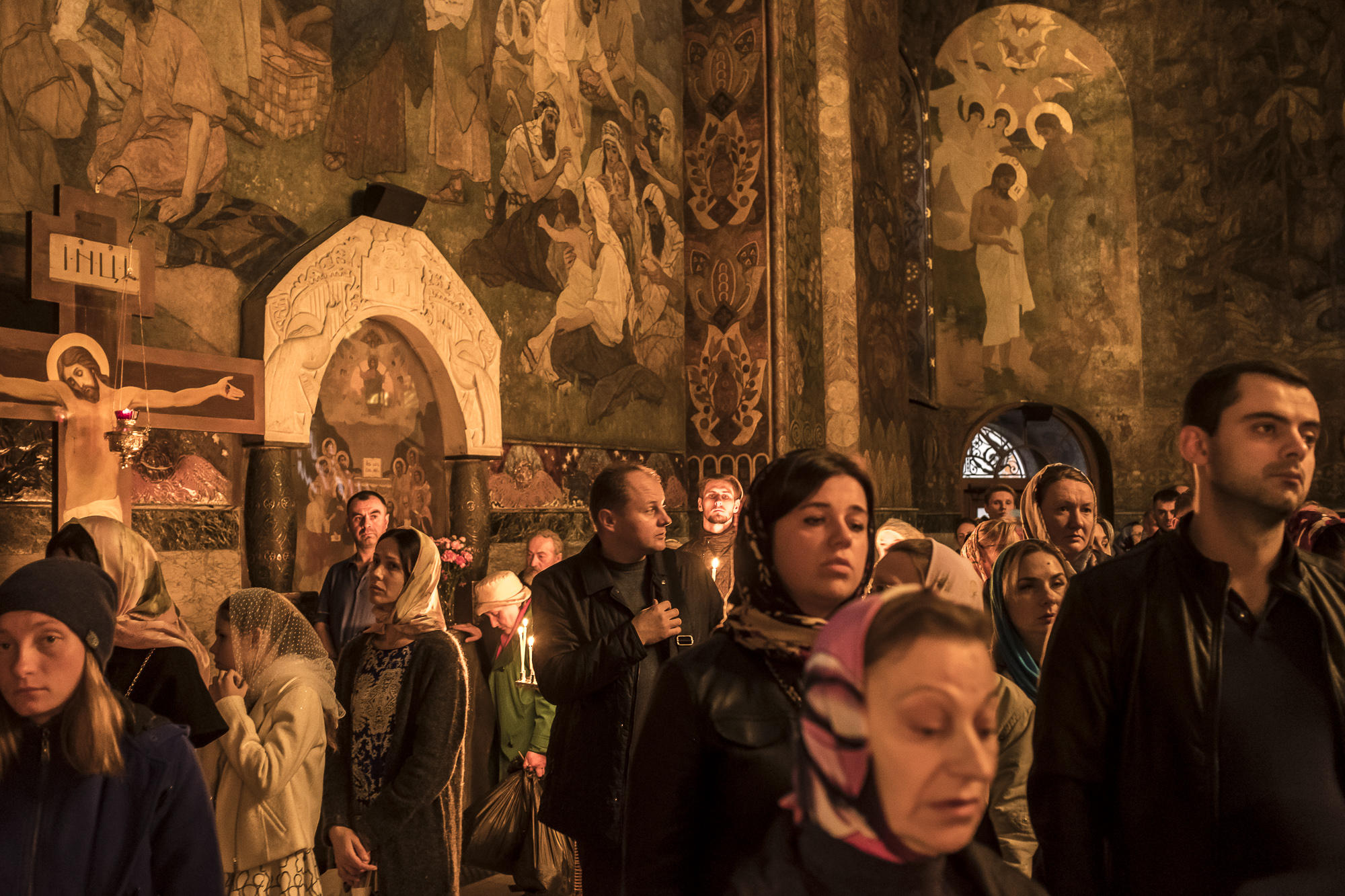 Worshipers at a Bishop's Mass at the Refectory Church of Sts. Anthony and Theodosius at the Kyiv-Pechersk Lavra on Saturday, October 6, 2018 in Kyiv, Ukraine.