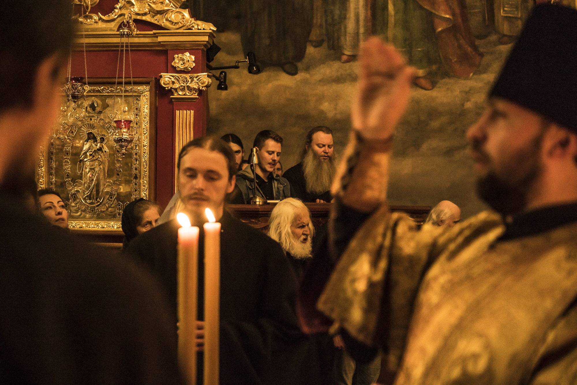 First Deacon Father Agapit, right, leads the Brethren service at the Church of the Exaltation of the Cross at the Kyiv-Pechersk Lavra on Saturday, October 6, 2018 in Kyiv, Ukraine.