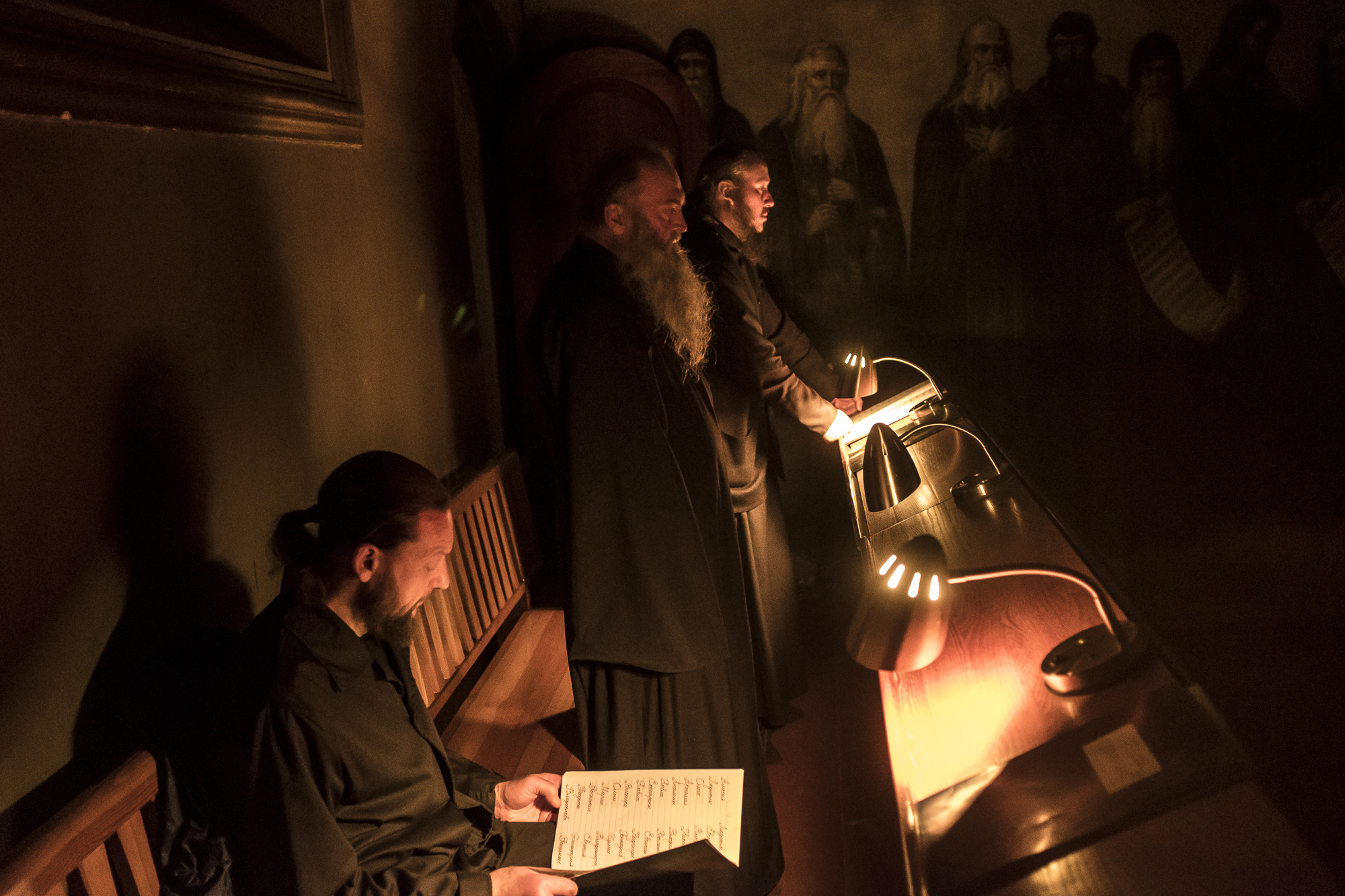 Monks pray during the Brethren service at the Church of the Exaltation of the Cross at the Kyiv-Pechersk Lavra on Saturday, October 6, 2018 in Kyiv, Ukraine.