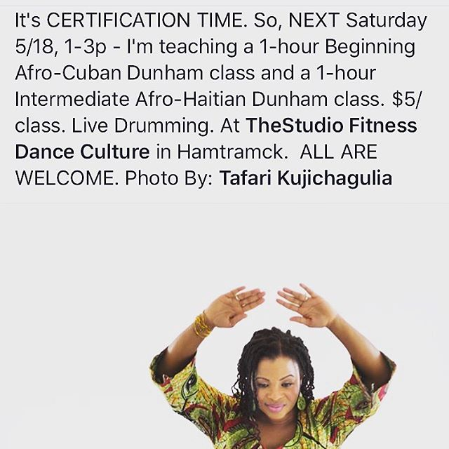 This Saturday! Class at @thestudio_fitnessdanceculture 1-3pm. #dunhamtechnique #afrocuban #afrohaitian #dance #danceclass