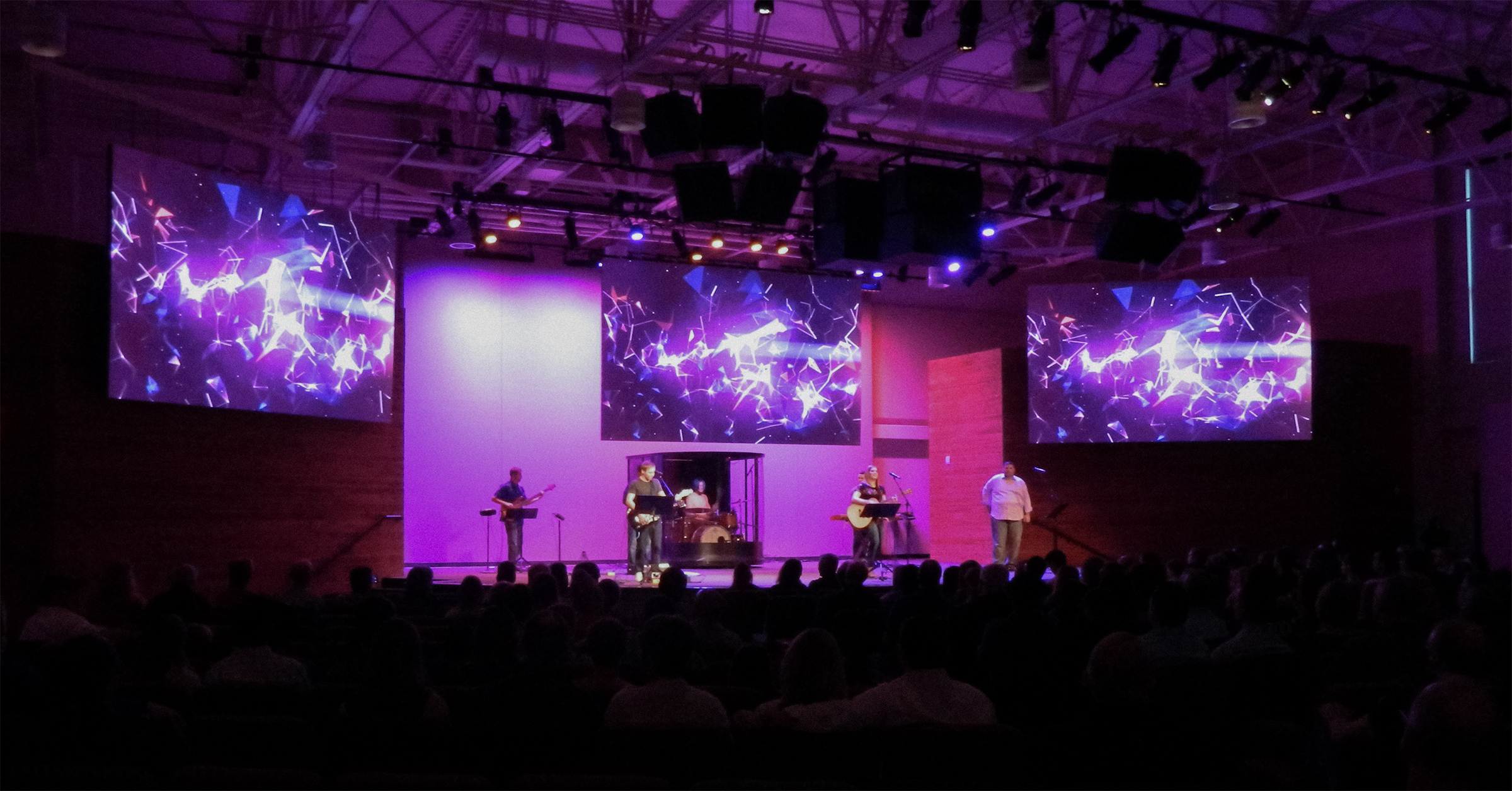 Chase Oaks Church Worship Center multiple LED walls in Fairview Texas. Installed by Infinity Sound of Grand Prairie Texas.