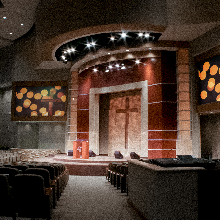 Highland Oaks Church of Christ, Dallas Texas. Instal by Infinity Sound of Grand Prairie Texas