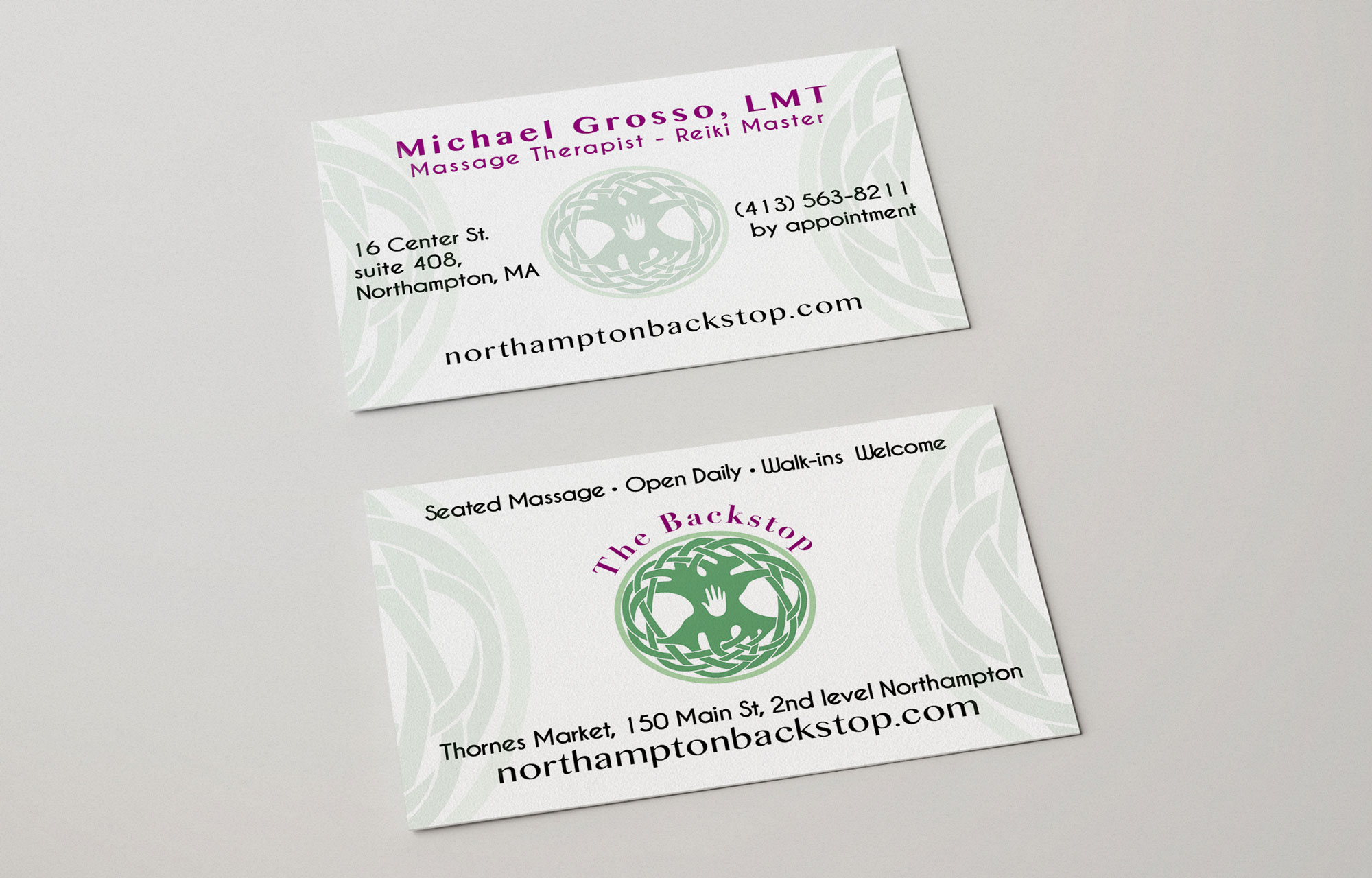 Branding and business card design for small business, massage therapy business cards, logo design for a massage therapist