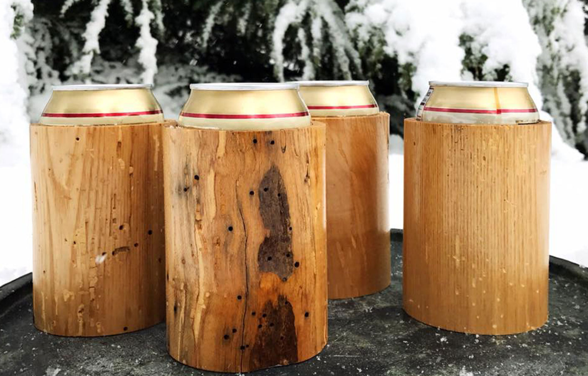 Handmade wooden Koozie from up cycled materials - graphic design of logo by megan alissa