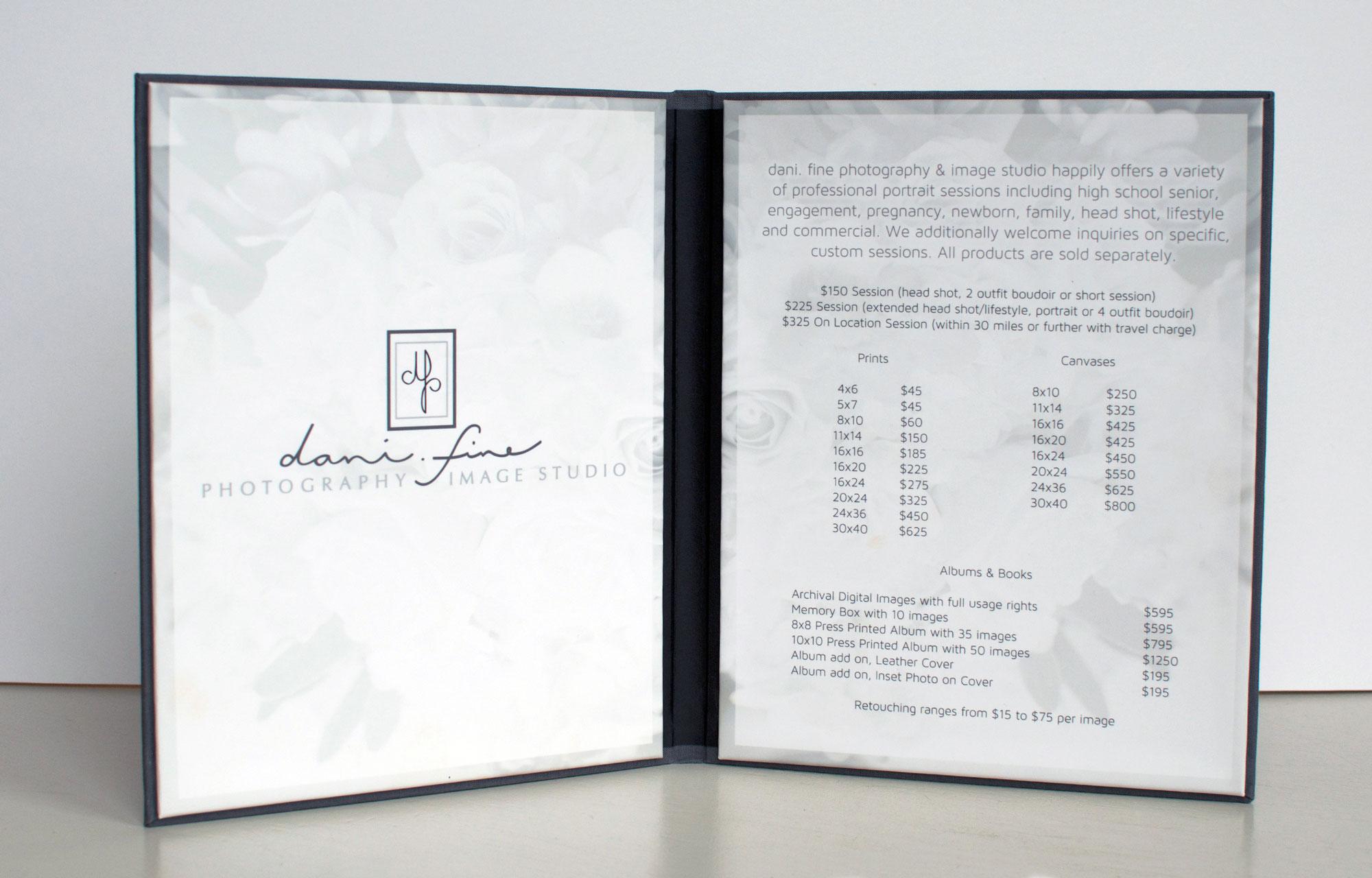 price list design, menu design, meganalissa.com, printed design, pricing folio design, photography studio graphic design, graphic designer in Northampton, MA