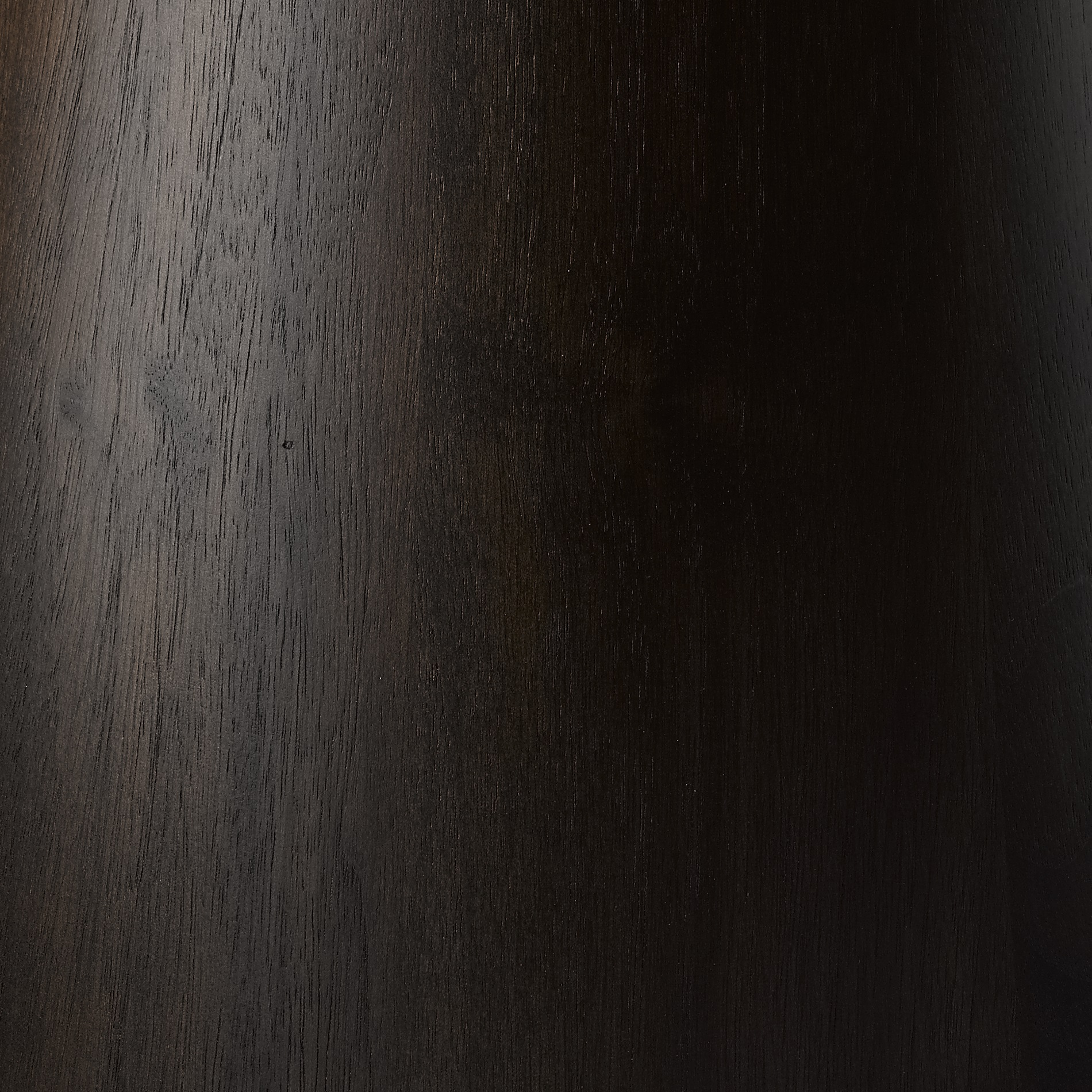 EBONISED WALNUT -  Stained to a rich cocoa with the natural colour tone and grain still visible. Finished with a clear lacquer to a 10% sheen level.