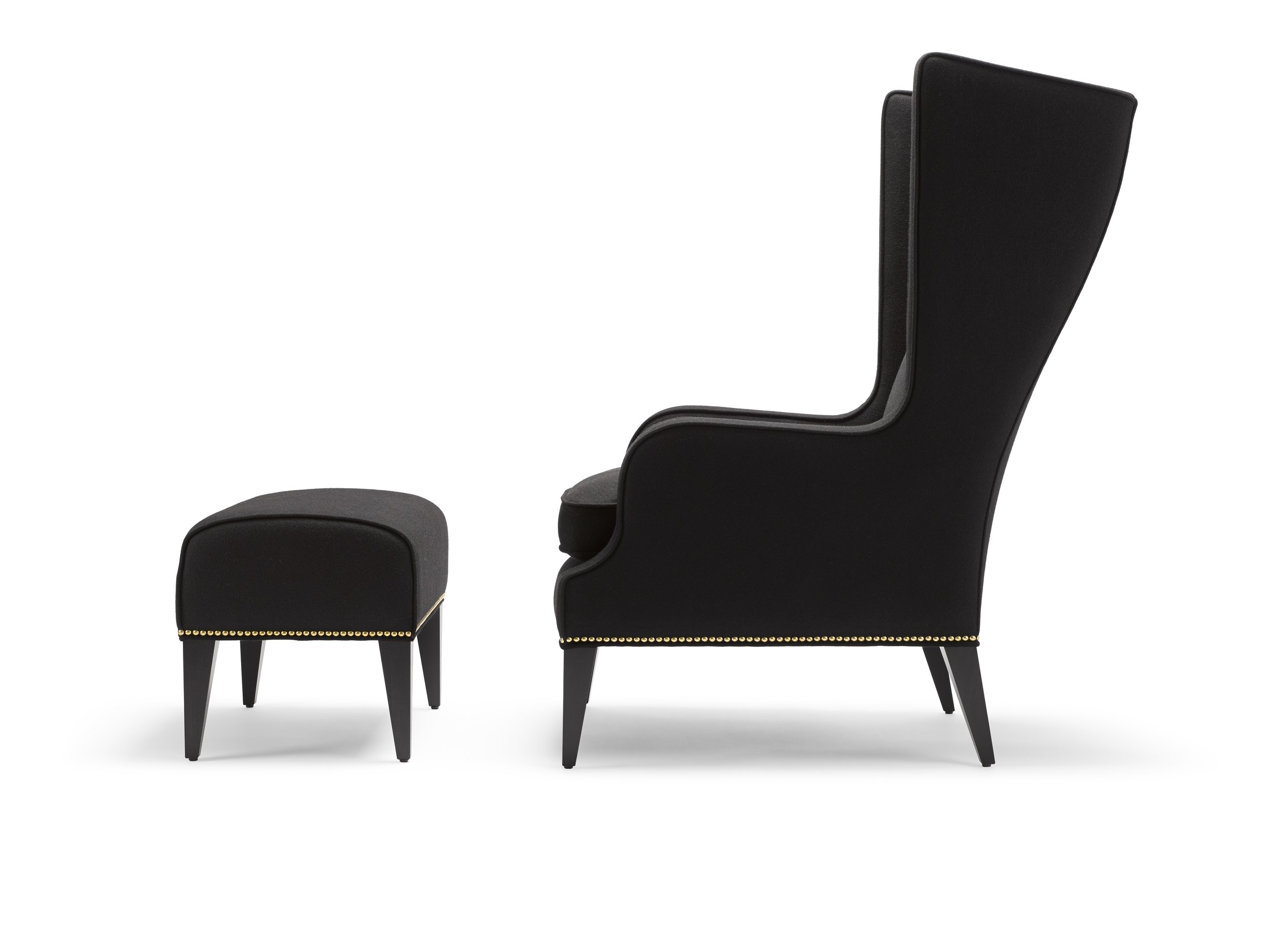 the alae wing chair - The Alae is available as a wing or lounge chair and features sleek sculptural lines. The seat is softened perfectly with a luxurious feather and down wrapped cushion. Upholstered in Moon Melton Marylebone (100% British), with legs in black lacquered walnut and upholstery nails in brass♦ Construction: solid beech frame, sprung seat and webbed back with a feather and down wrapped seat cushion.♦ Height: 115cm | Length: 70cm | Depth: 91cm♦ Hand Signed No. 686Trade Price: £1,820 + vatQty: 1