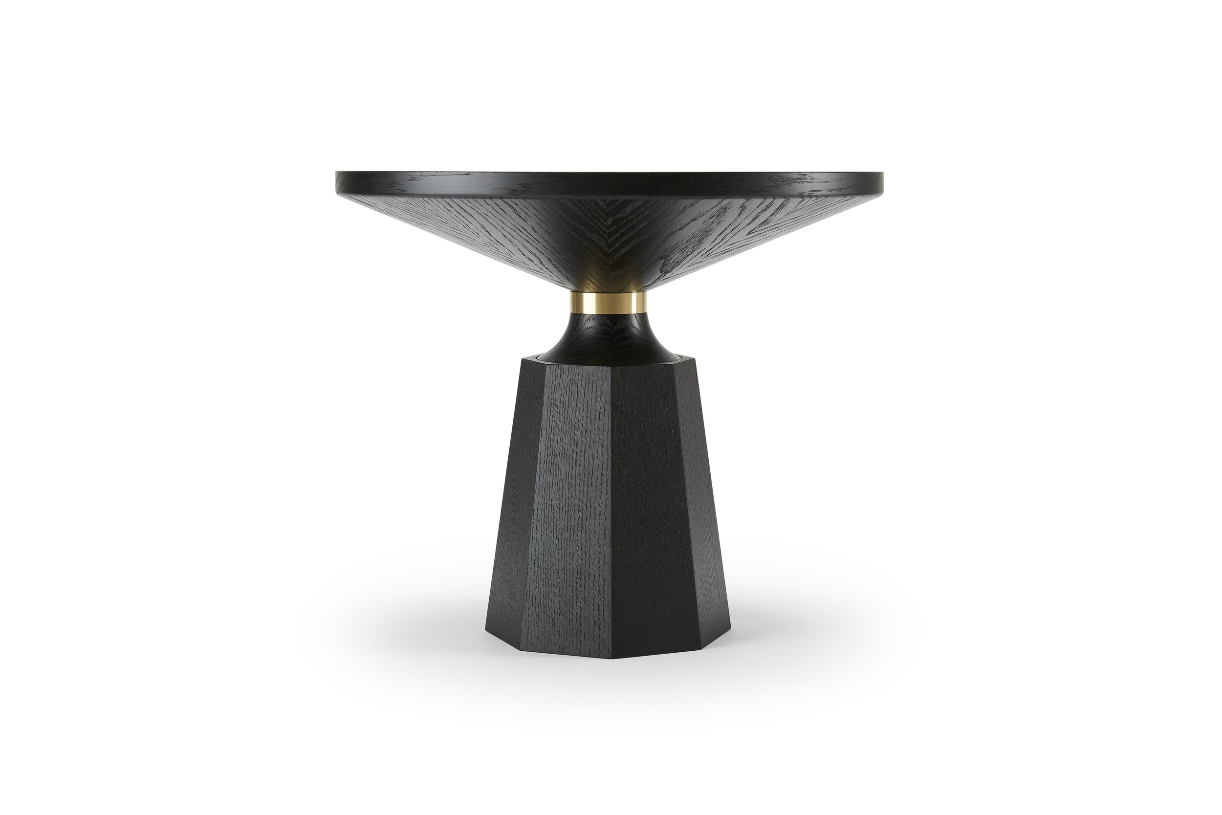 NICOLE I I  Crafted by hand from solid and veneered oak or walnut, this table has a simple yet graphically striking silhouette punctuated by the machined metal collar.