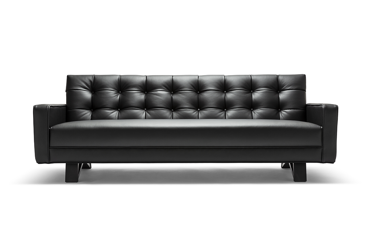 ADONI OBSIDIAN  The Adoni Obsidian Sofa is a striking and beautifully prominent furniture piece. It features stunning biscuit tufting that demonstrates fine skill of contemporary craft.