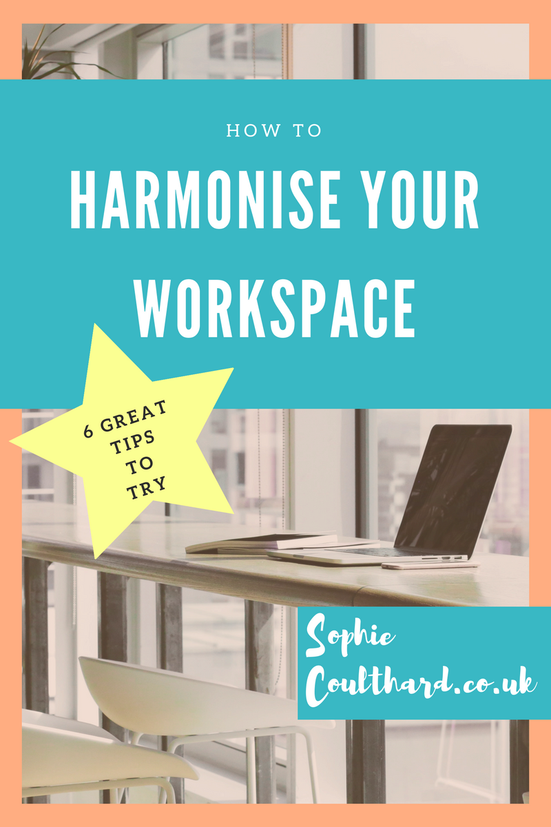 Harmonise Your Workspace. Tips on how to create harmony around your desk so you feel more inspired, productive and motivated!