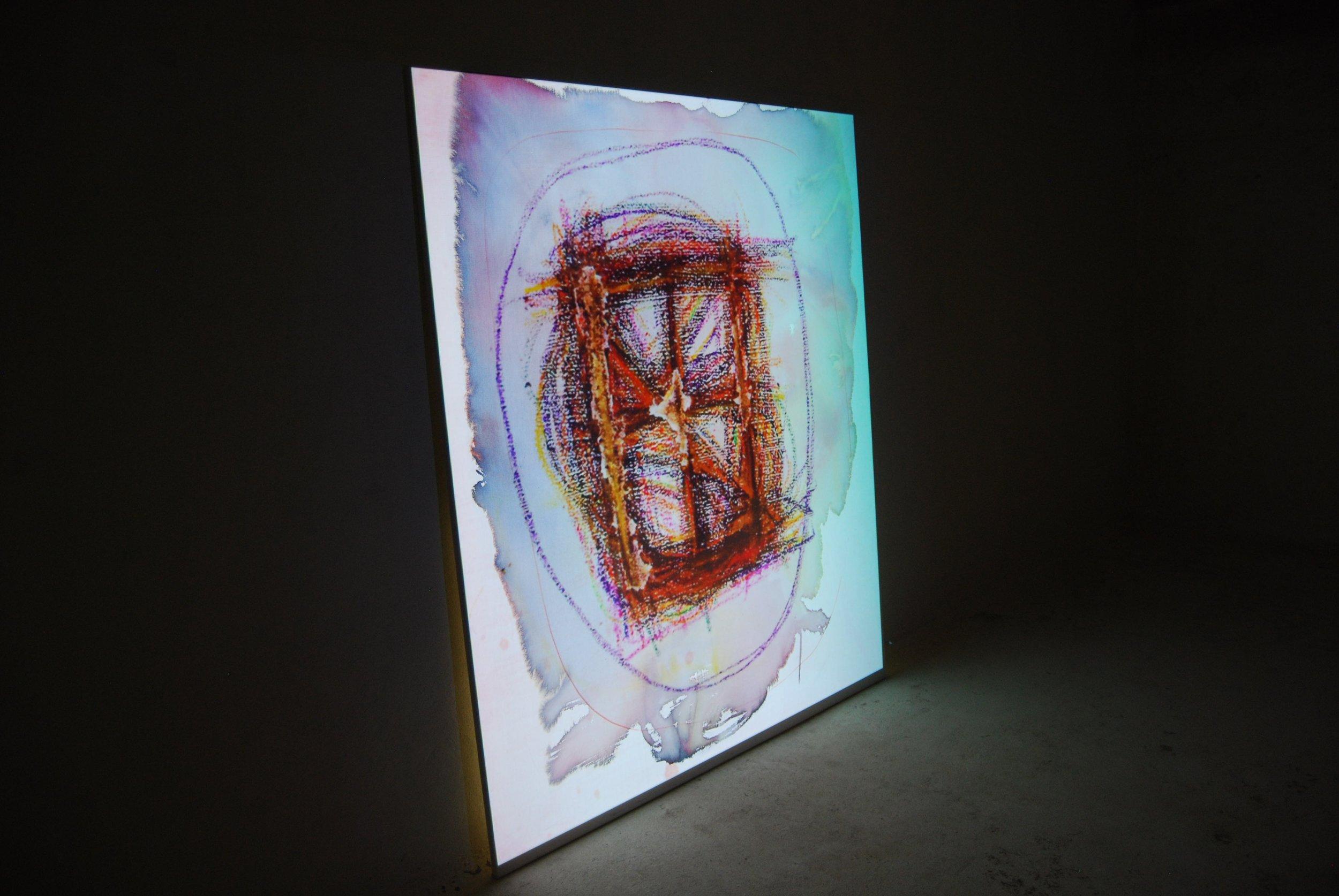 i ate everything N°2,  2016, Aquarellmalerei mit projezierten Malereien