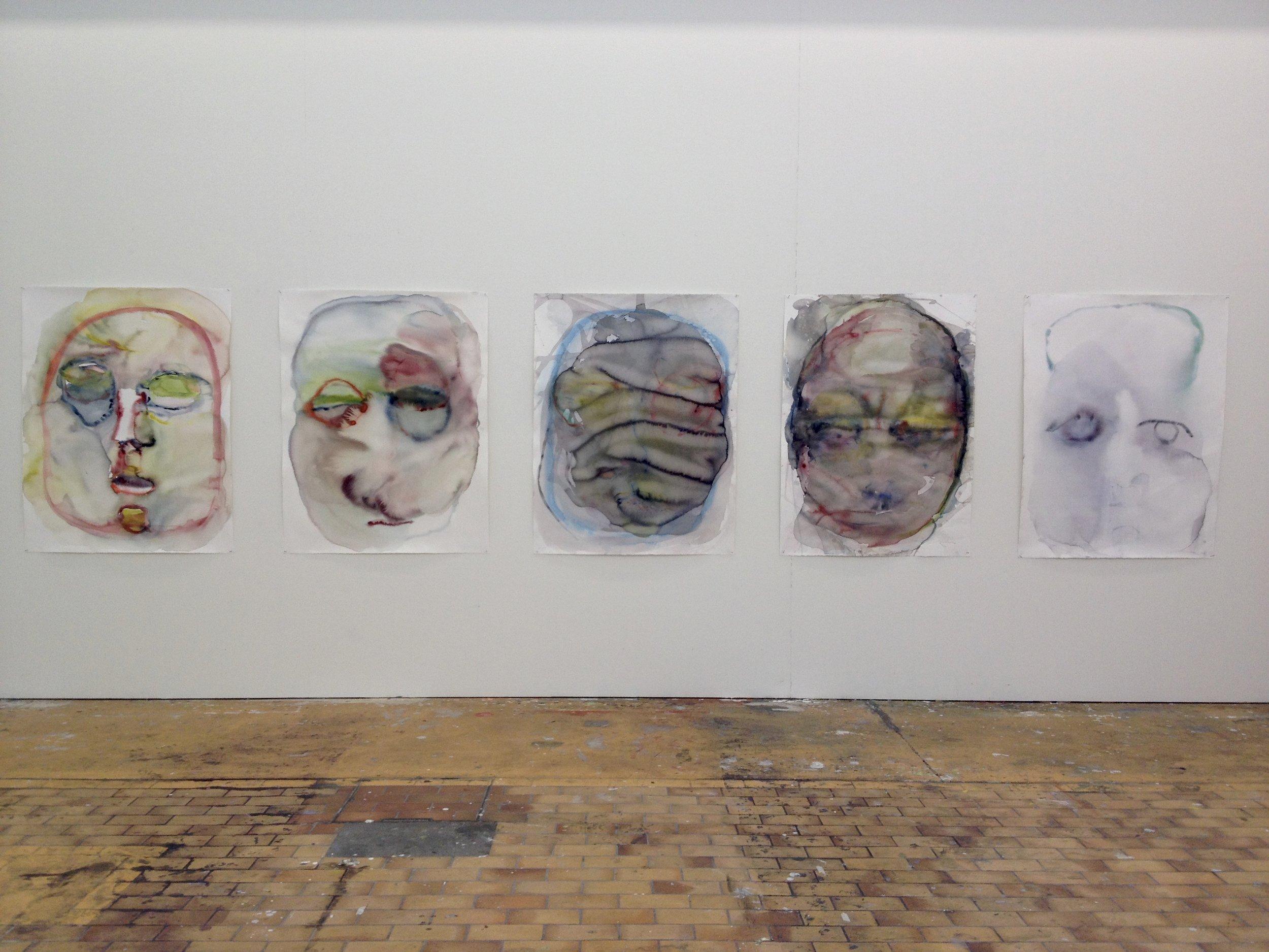 Gib mir mein Gesicht zurück, 2016, Serie aus 5 Aquarellmalereien auf Papier, alle ca 100 x 130 cm