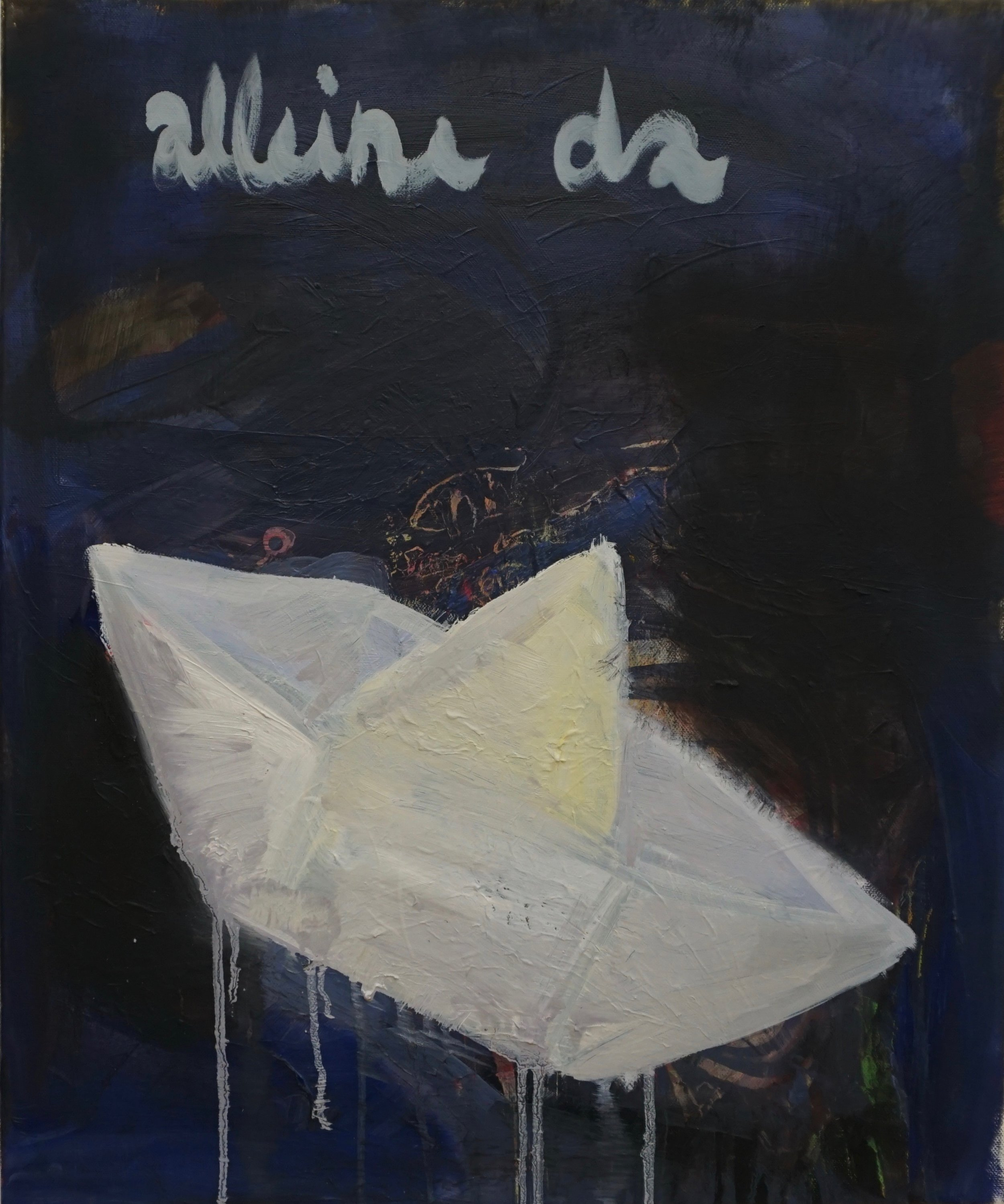 nach ed rusha, westward ho, 1986, öl auf leinwand, 50 x 60 cm