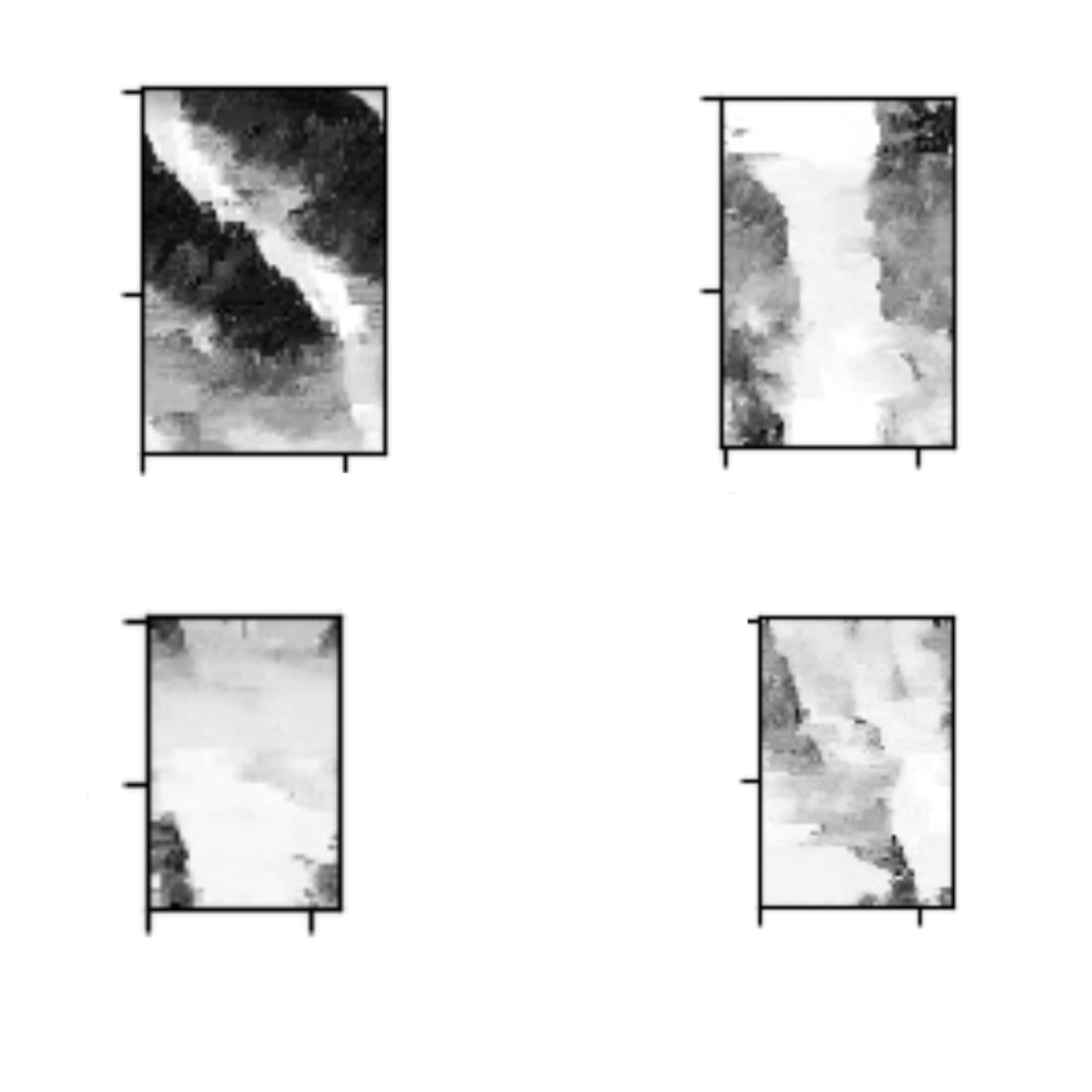 Samples of  grayscale_rnn's  output after approximately 1000 training epochs