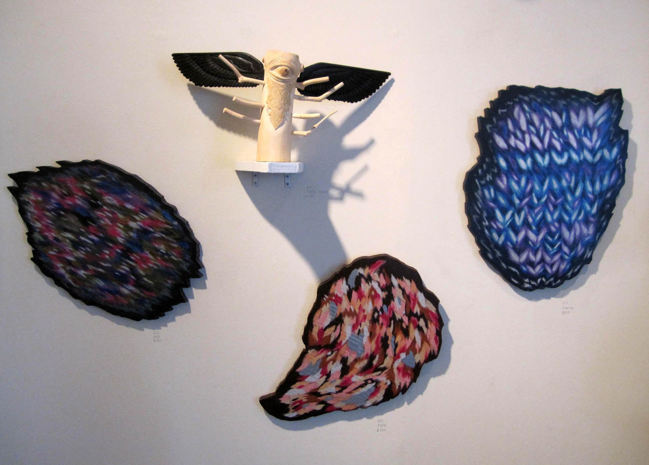 Hand carved wood sculpture by Becky Furey  Three drawings mounted on cut MDF by Dorothy Stucki