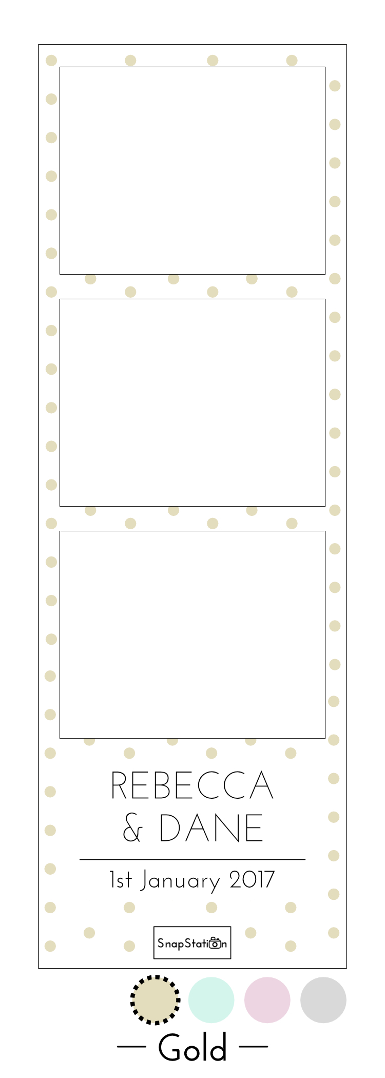 SnapStation personalised gold dots photo template