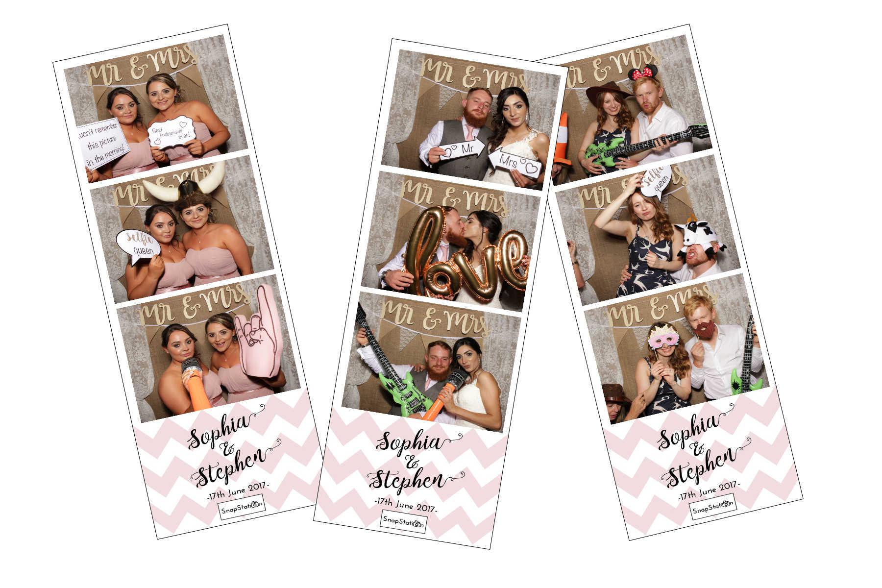 SnapStation Photo Booth - Rose Chevron Wedding photo strips