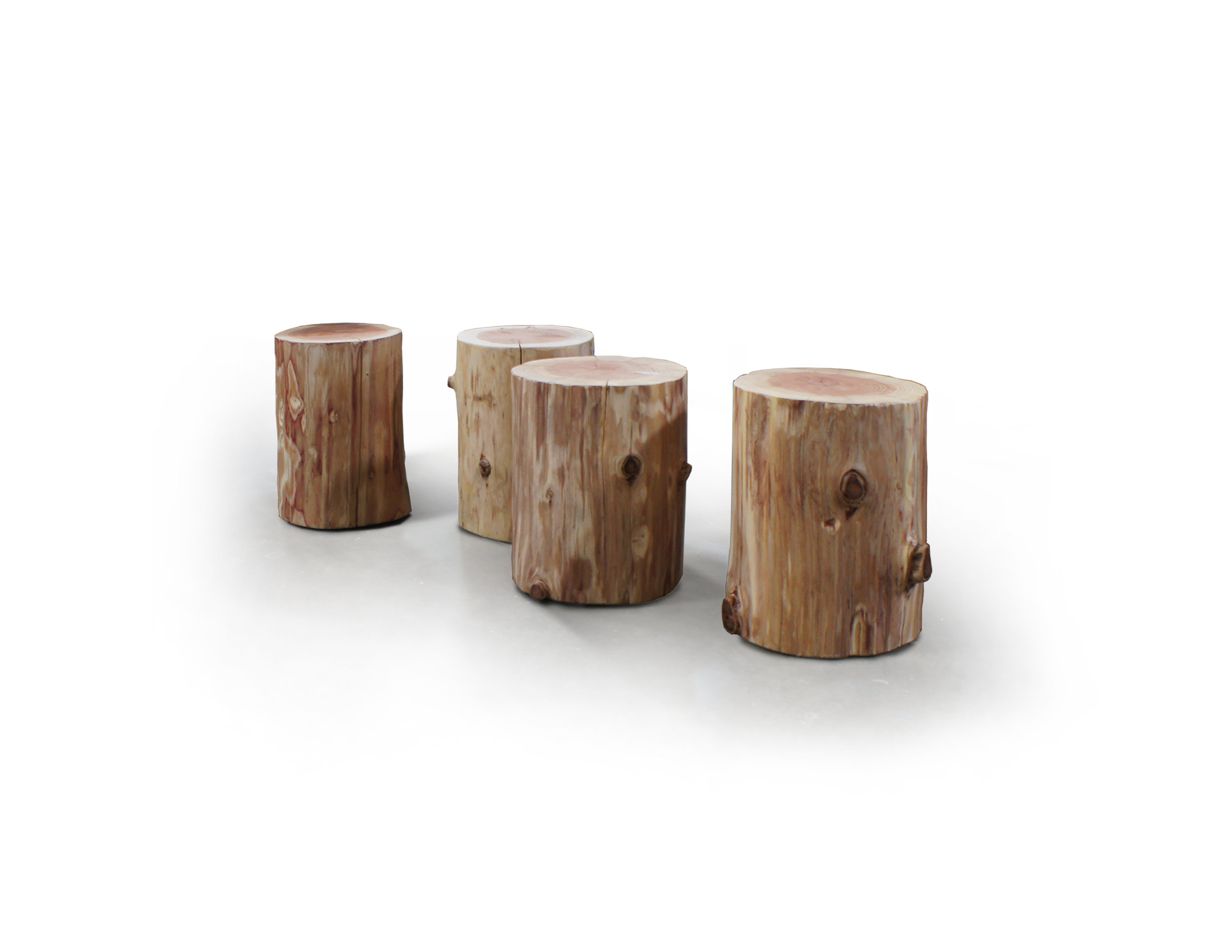 RECLAIMED DOUGLAS FIR STUMP TABLES FOR PHONE ROOMS
