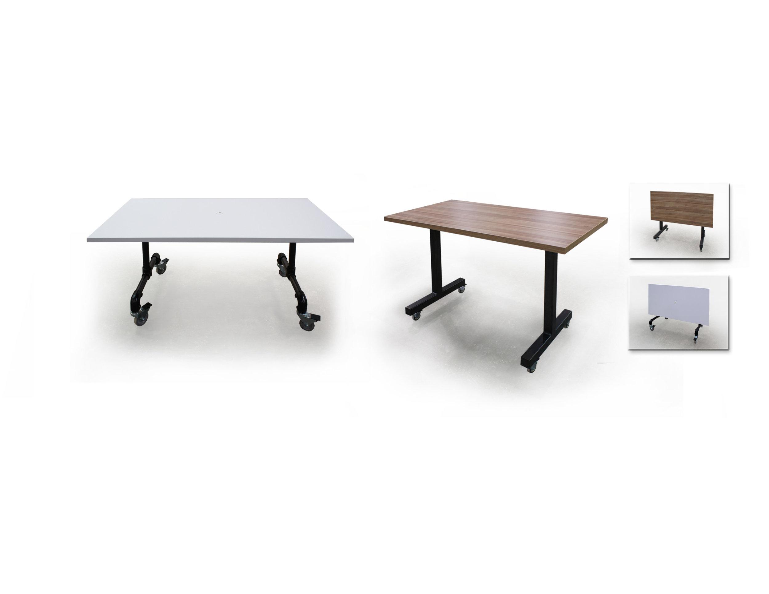 flip-top training tables - (l) white p-lam (r) walnut p-lam