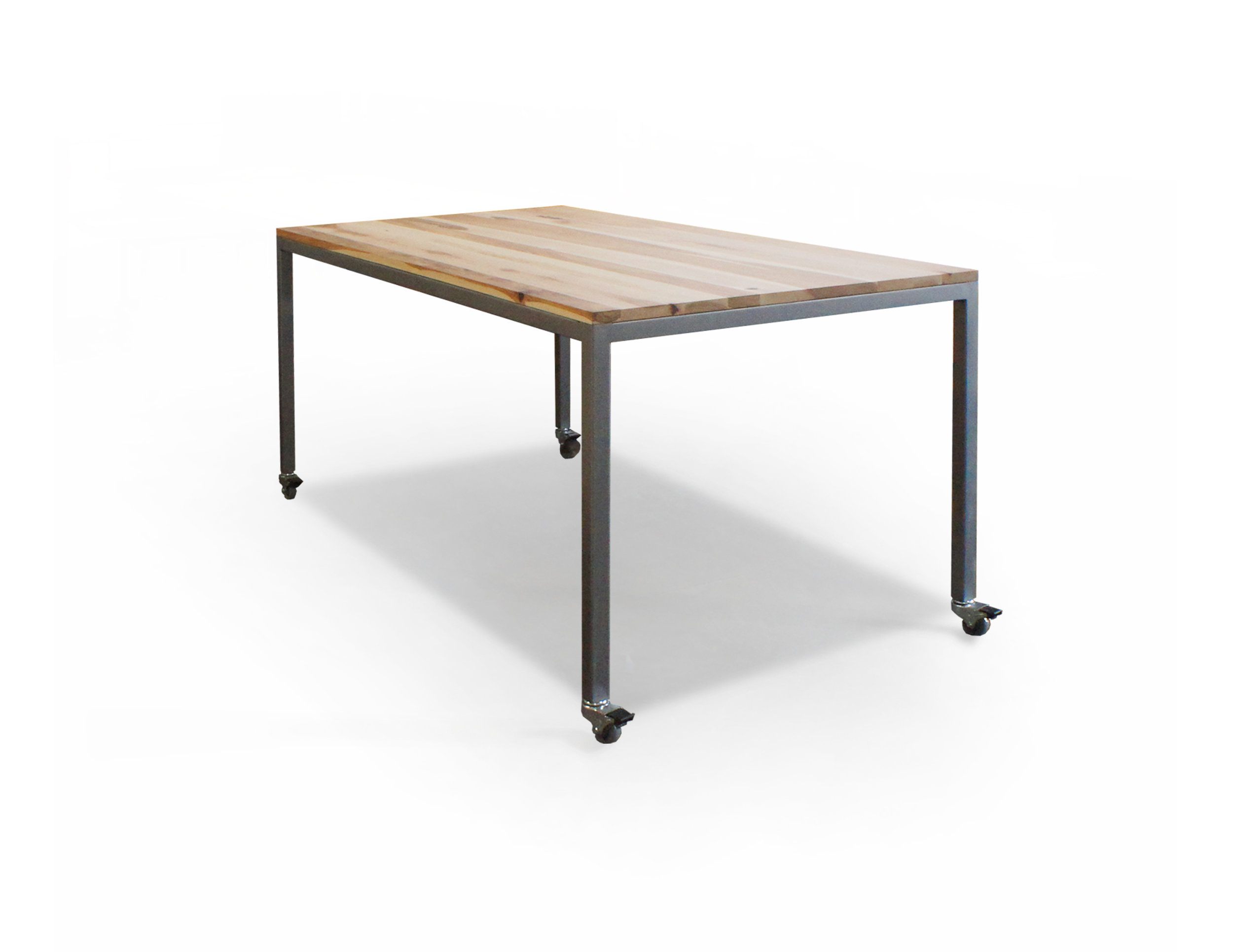 HICKORY TOP w/ BRUSHED STEEL FRAME
