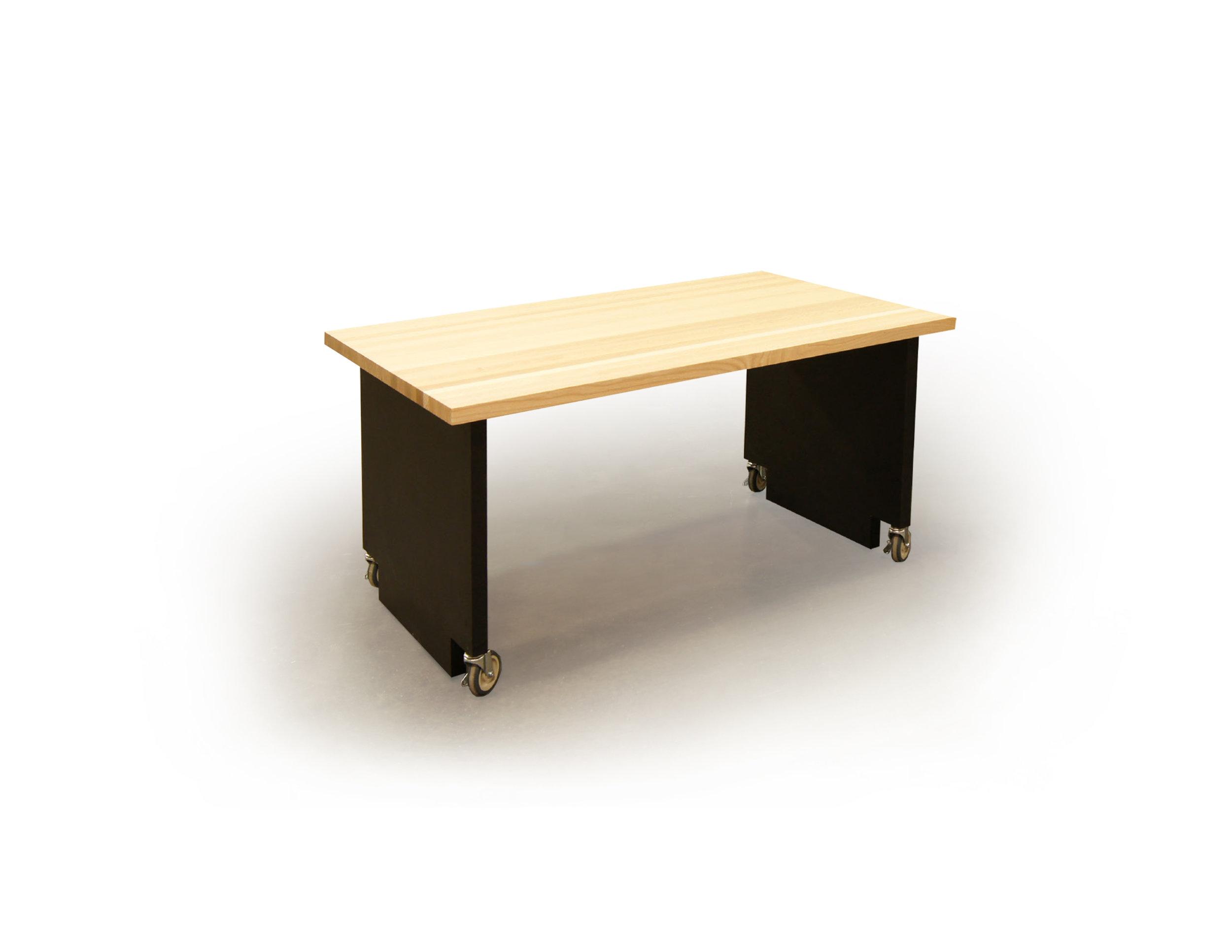 planked oak breakroom table