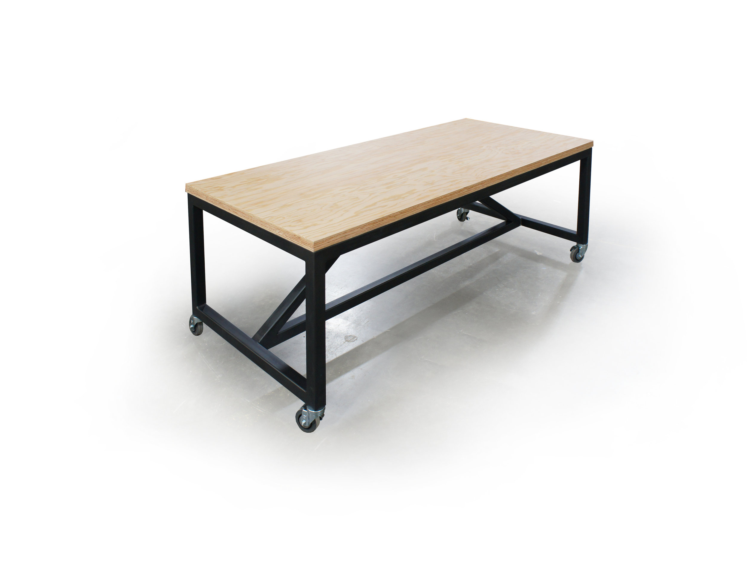 birch multiply top w/ black painted steel frame