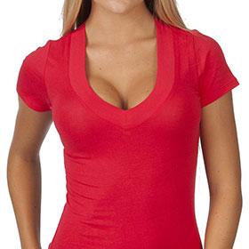 Deep V-Neck Tshirt by Hollywood Star Fashion
