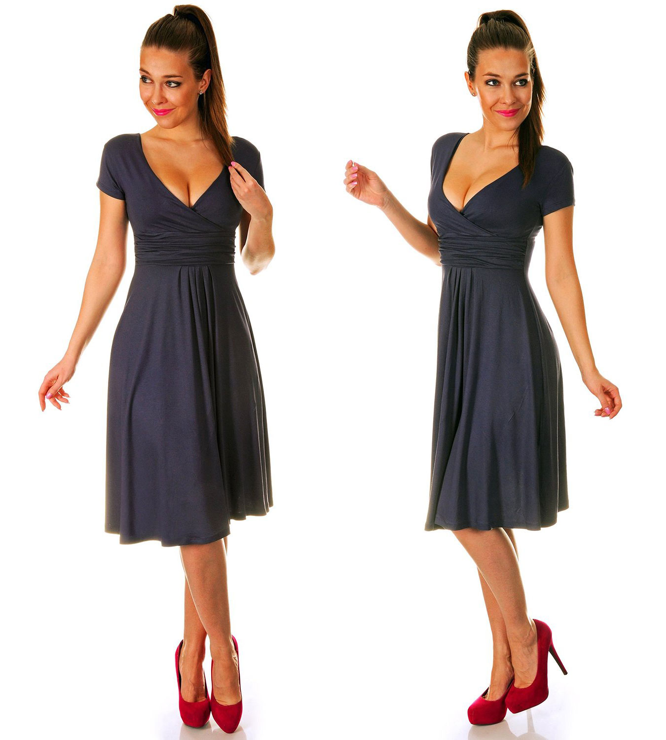 Short Sleeve Jersey Pleated Dress