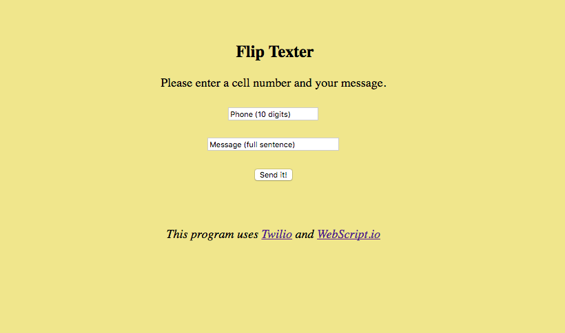 FlipTexter   (with Twilio and Stripe API's)