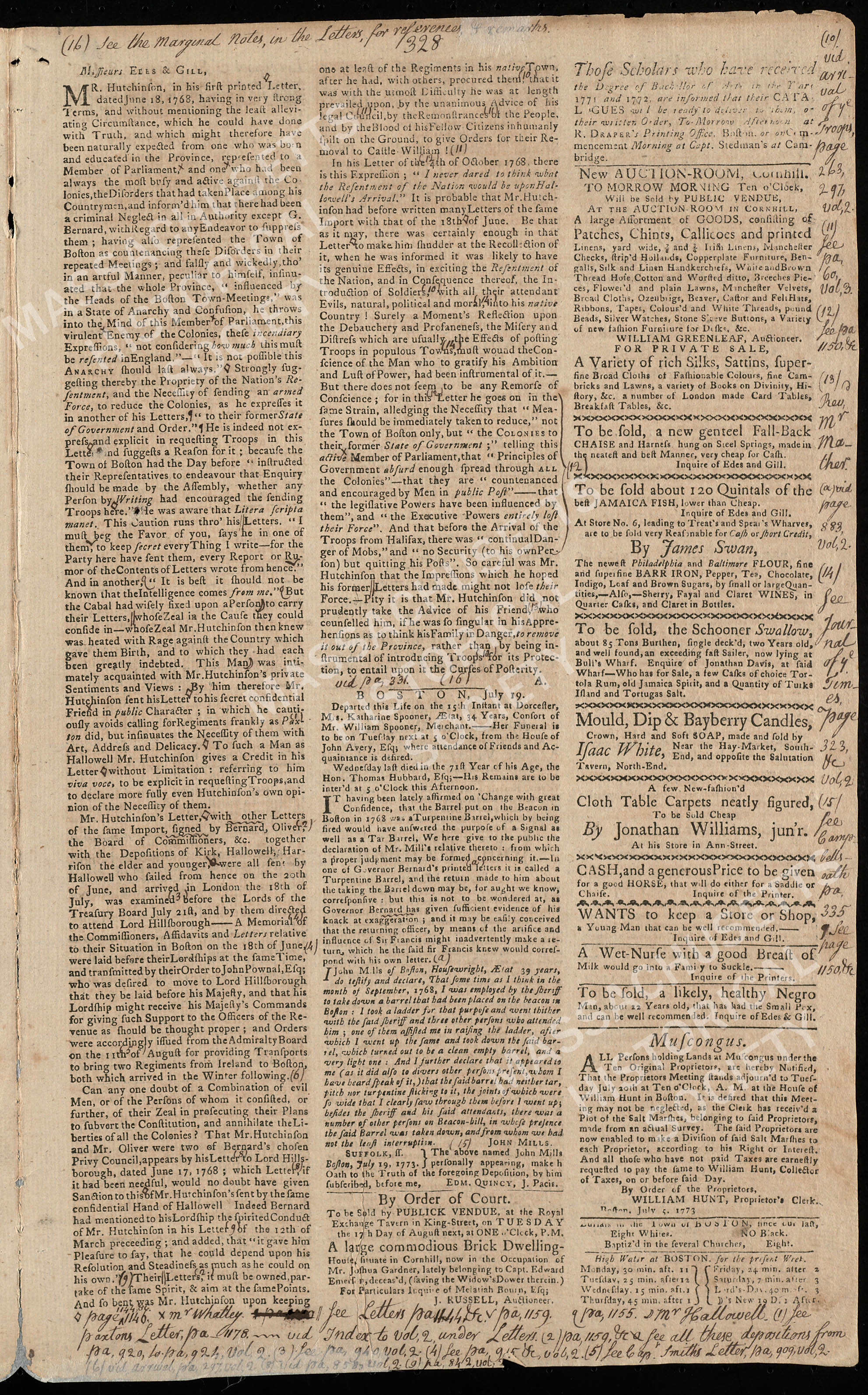 The Annotated Newspapers of Harbottle Dorr, Jr. Volume 4: Newspapers, 6 January 1772 to 26 December 1776: Page 328