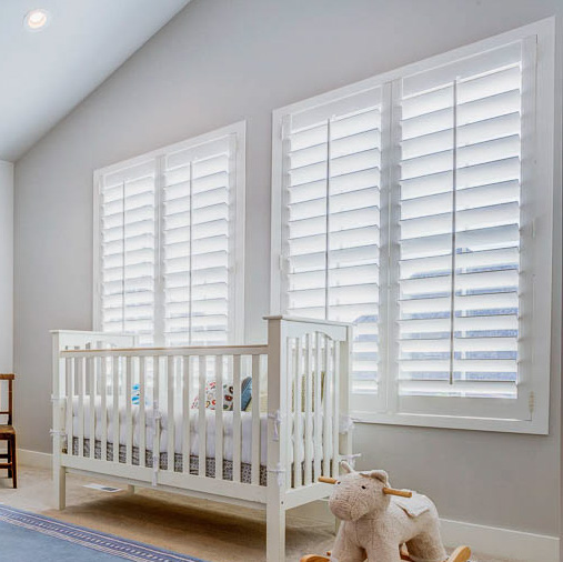 Wood shutter with standard Modern casing and no window sill
