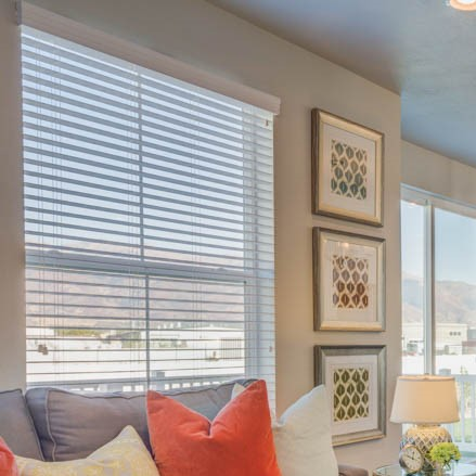 2 inch Valuewood blind in white with traditional valance