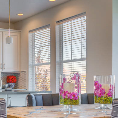 2 inch Valuewood blinds in white with Modern valance