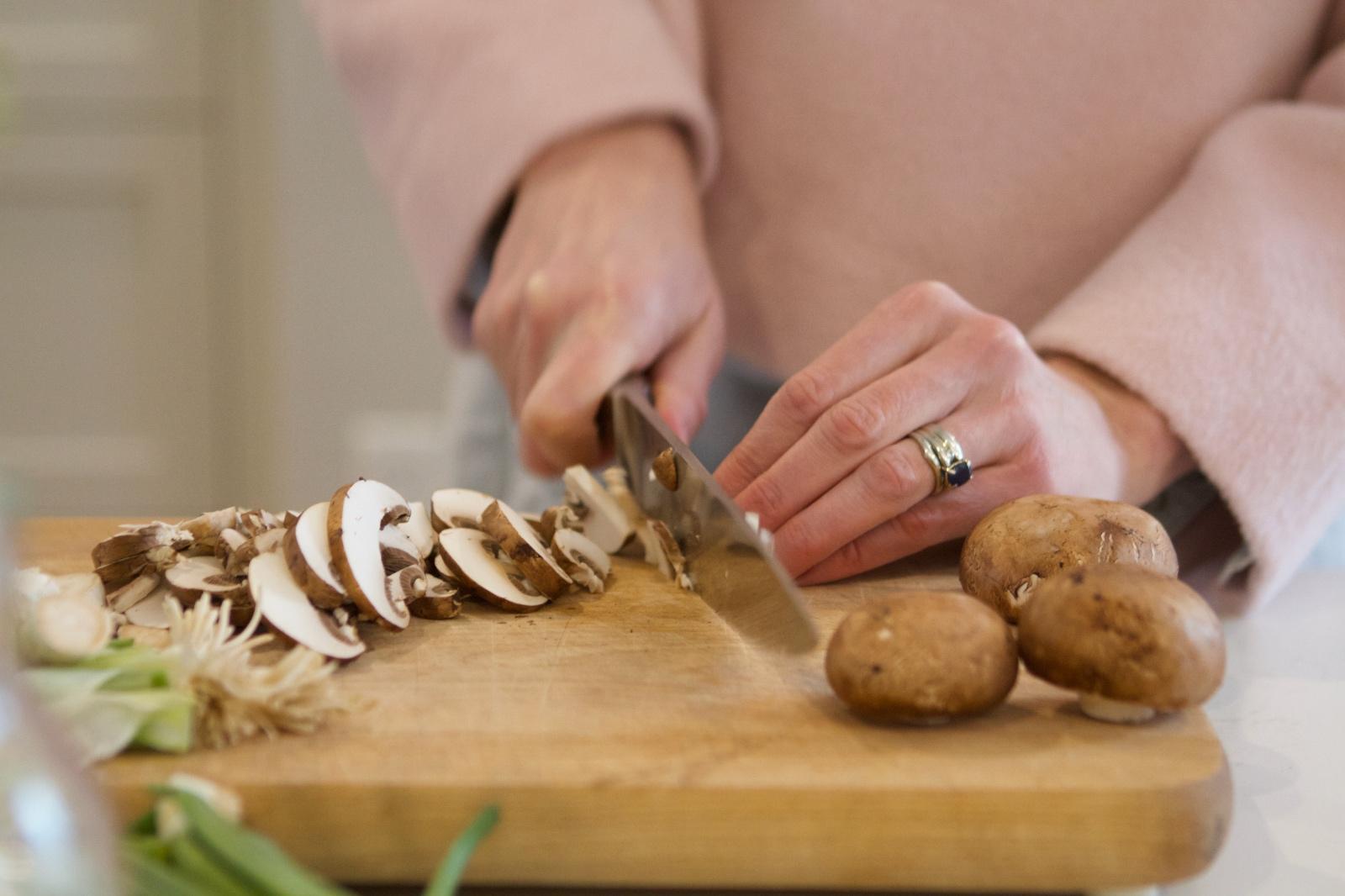 Lindsay chopping mushrooms